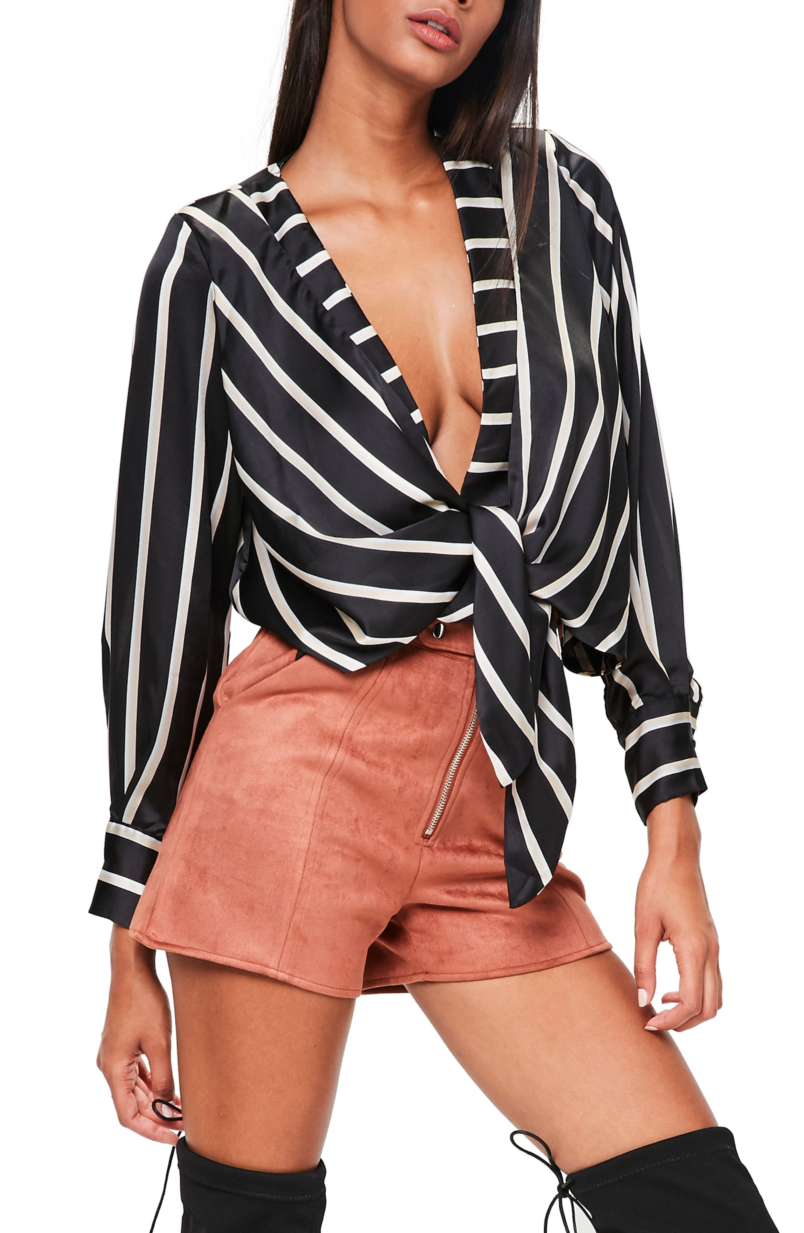 Missguided Tie Front Satin Blouse
