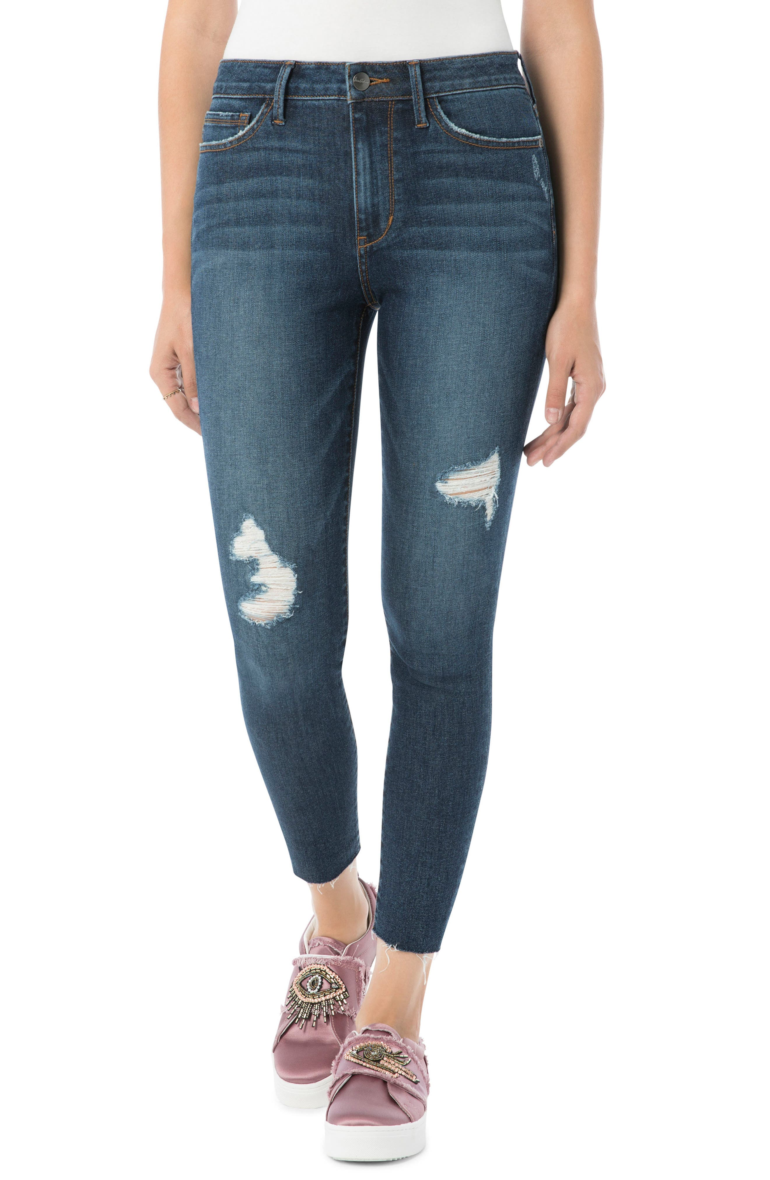 Kitten Ripped Skinny Ankle Jeans,                         Main,                         color, Margaux