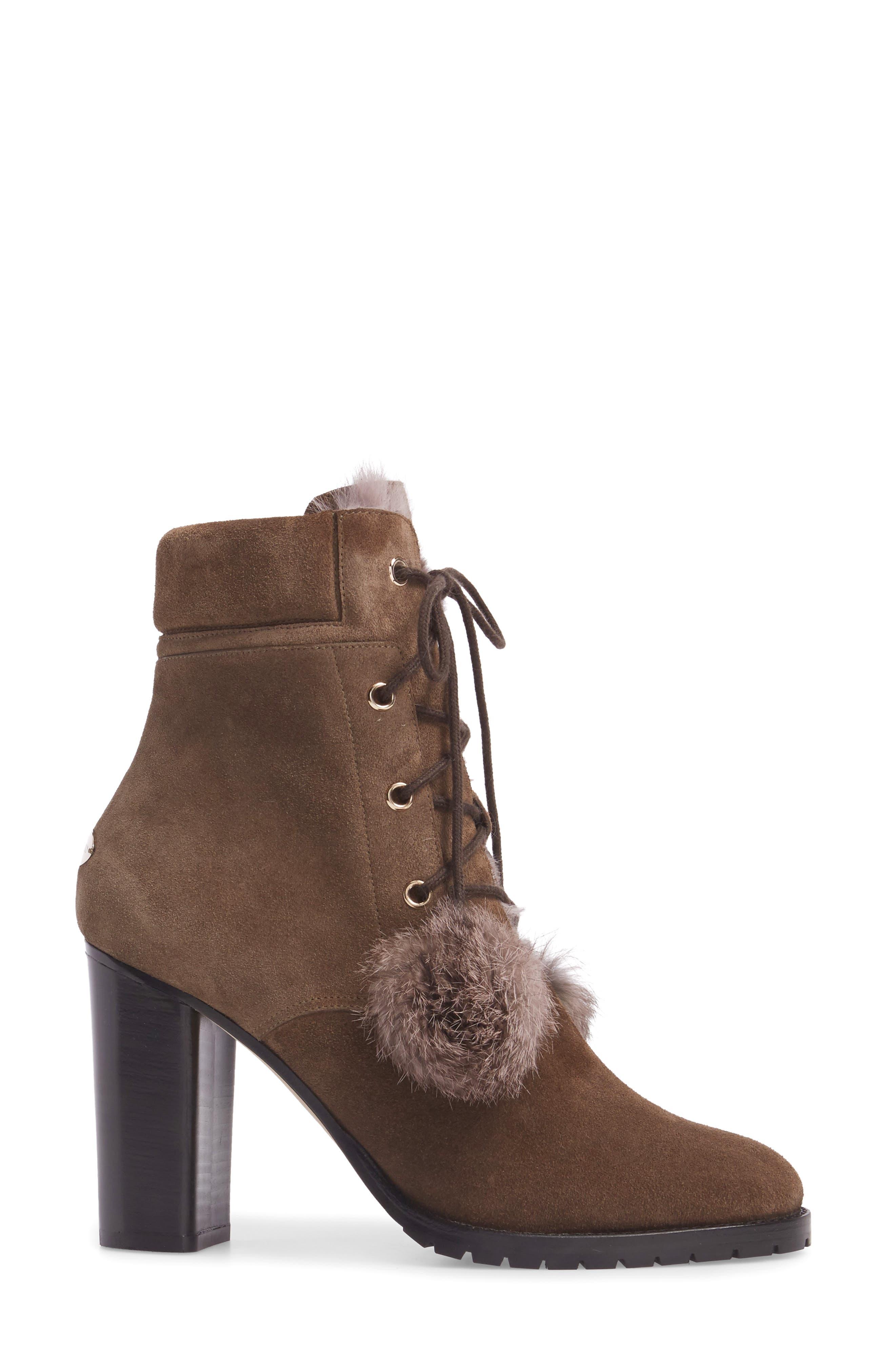 Elba Genuine Rabbit Fur Boot,                             Alternate thumbnail 3, color,                             Mink