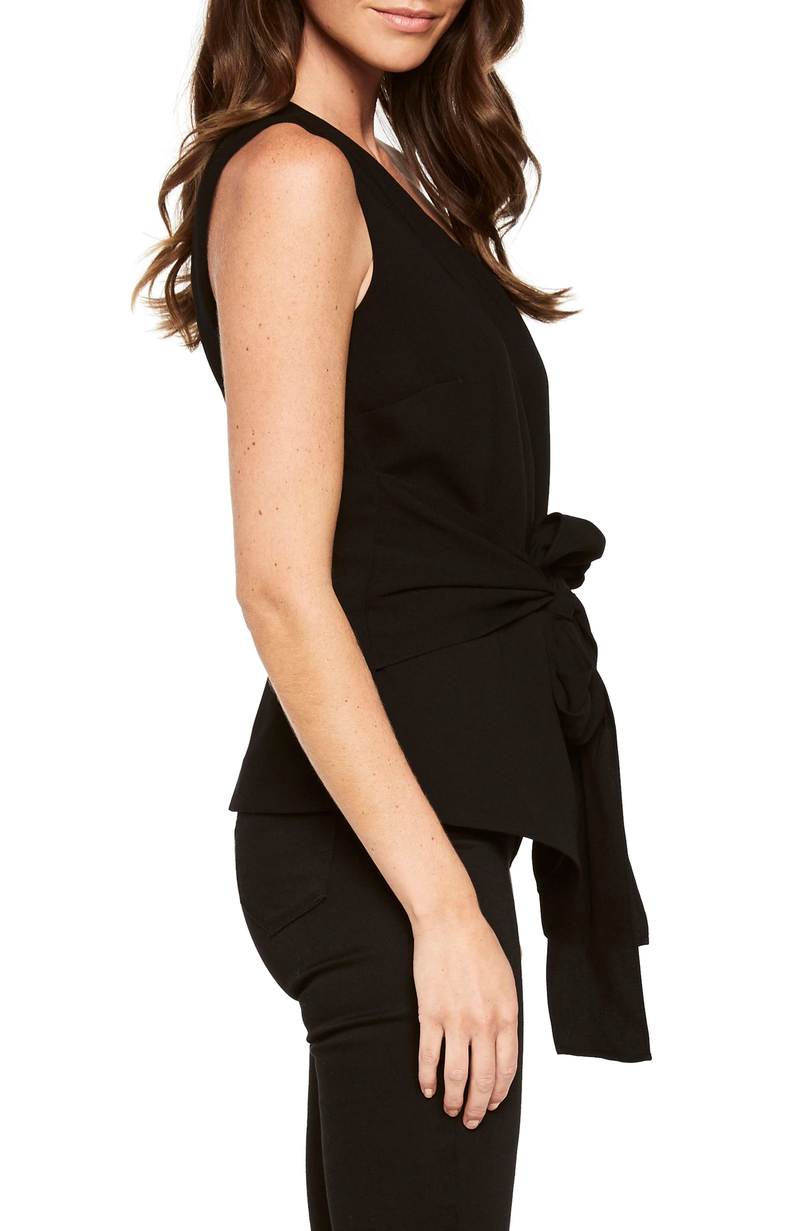 Bow Sash One-Shoulder Top,                             Alternate thumbnail 3, color,                             Black