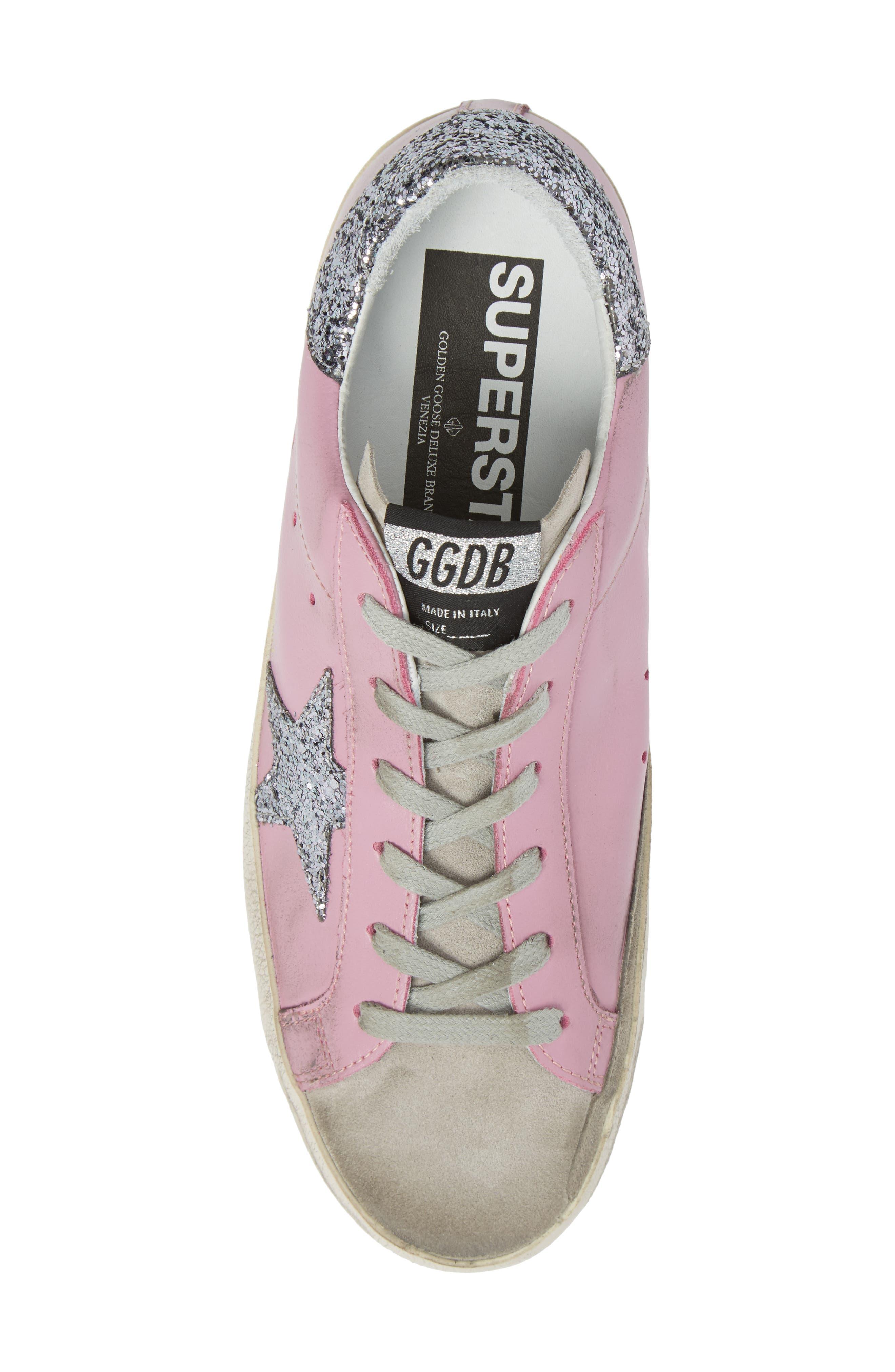 Superstar Low Top Sneaker,                             Alternate thumbnail 5, color,                             Pink/ Grey