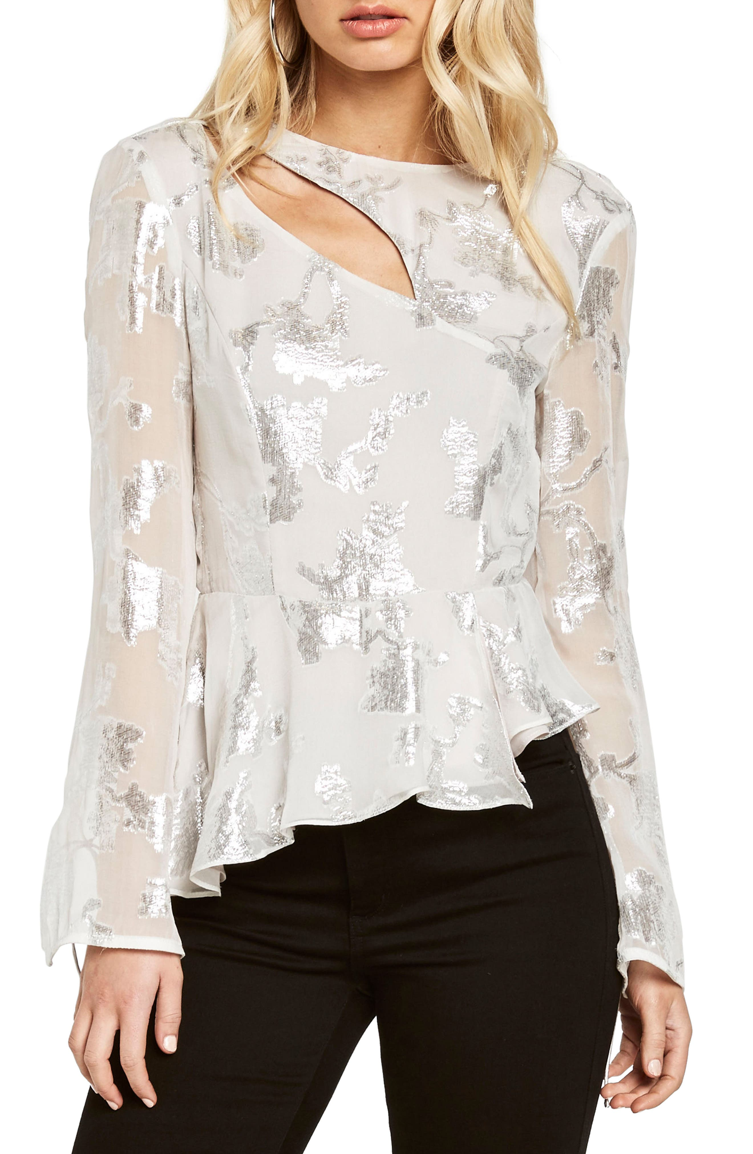 Main Image - Bardot Metallic Cutout Silk Blend Blouse