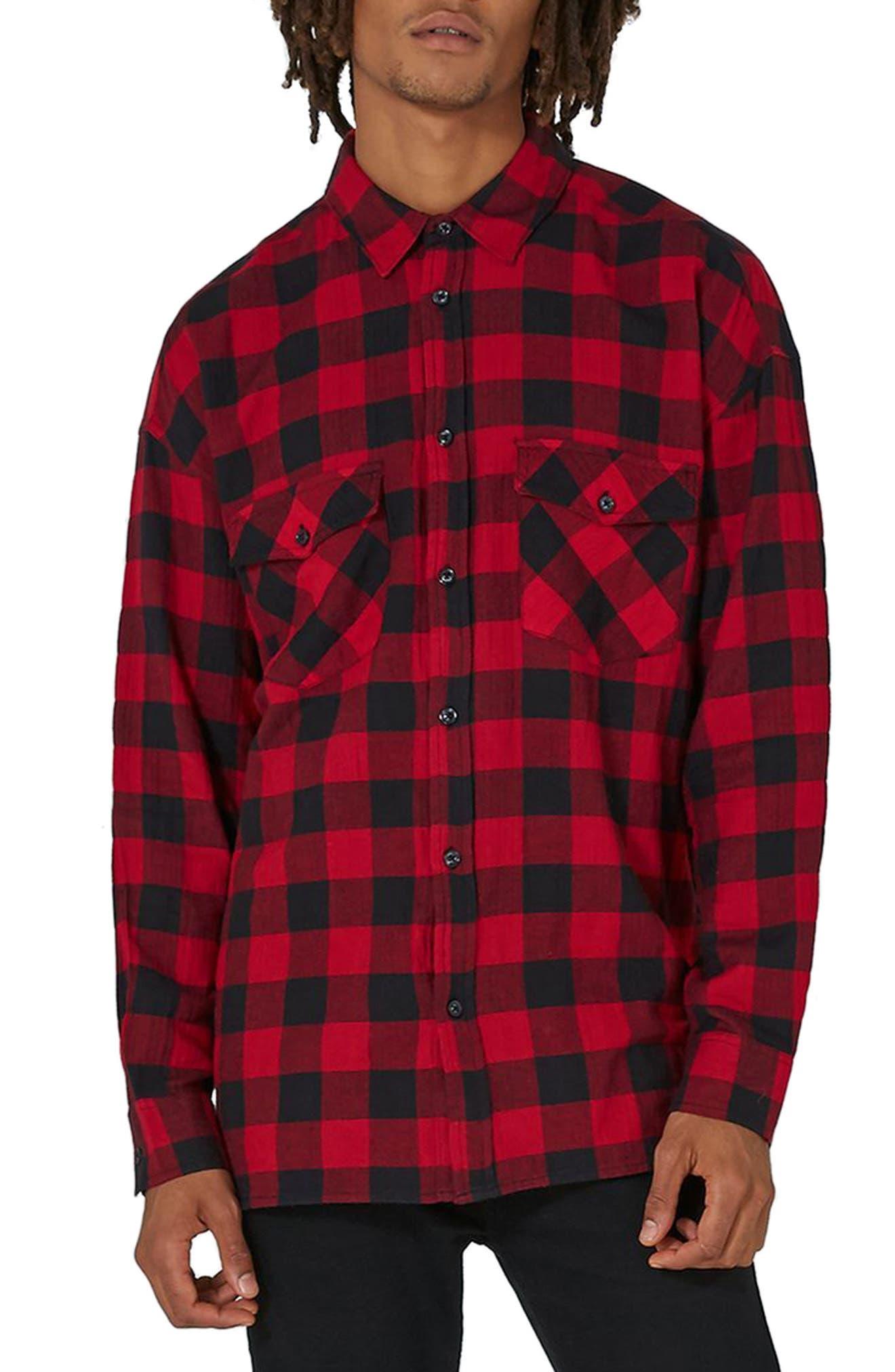Topman Trim Fit Buffalo Check Shirt