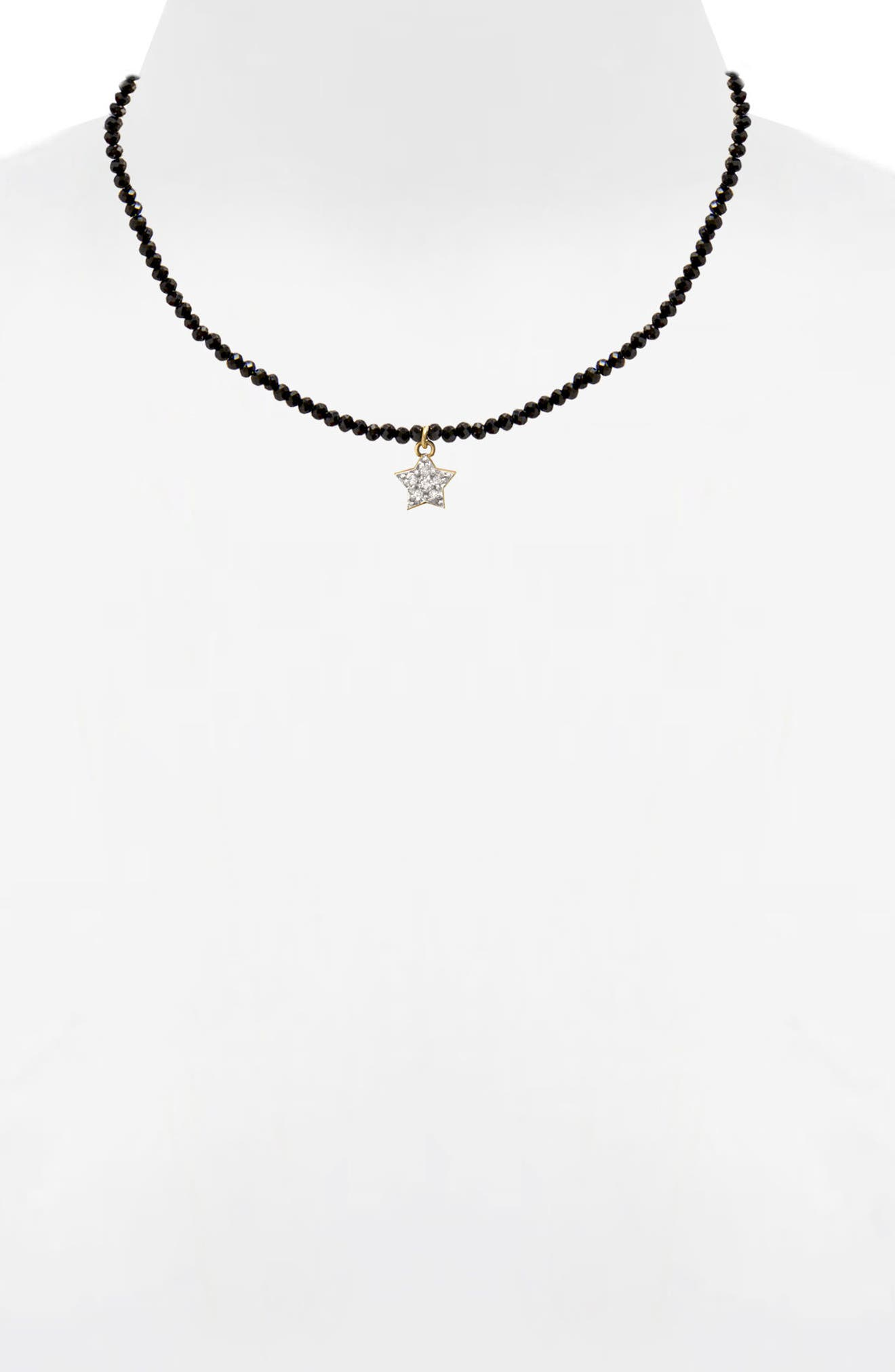 Jane Basch Diamond Star Necklace,                             Alternate thumbnail 2, color,                             Black Onyx