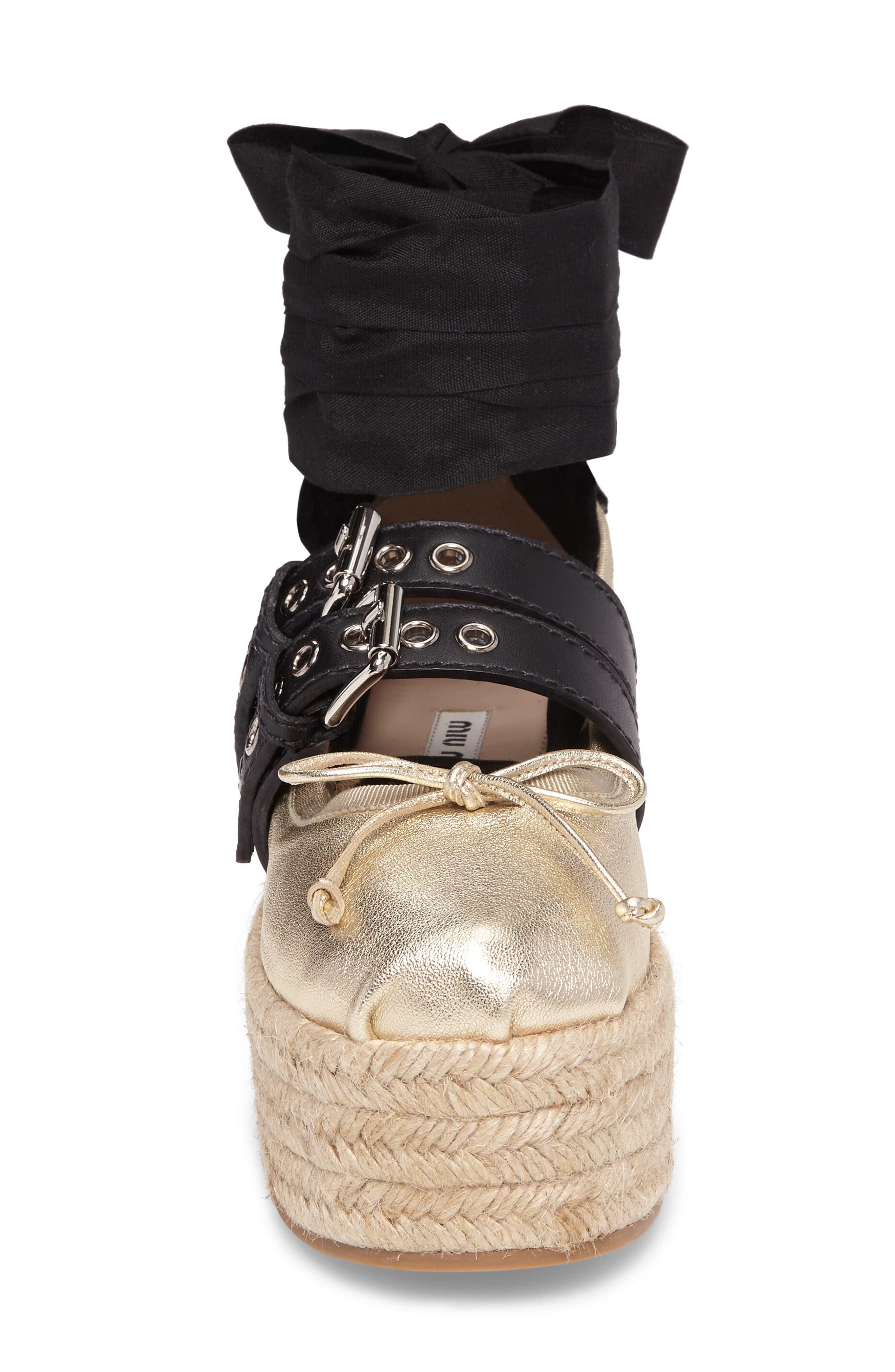 Alternate Image 5  - Miu Miu Ankle Wrap Platform Espadrille (Women)