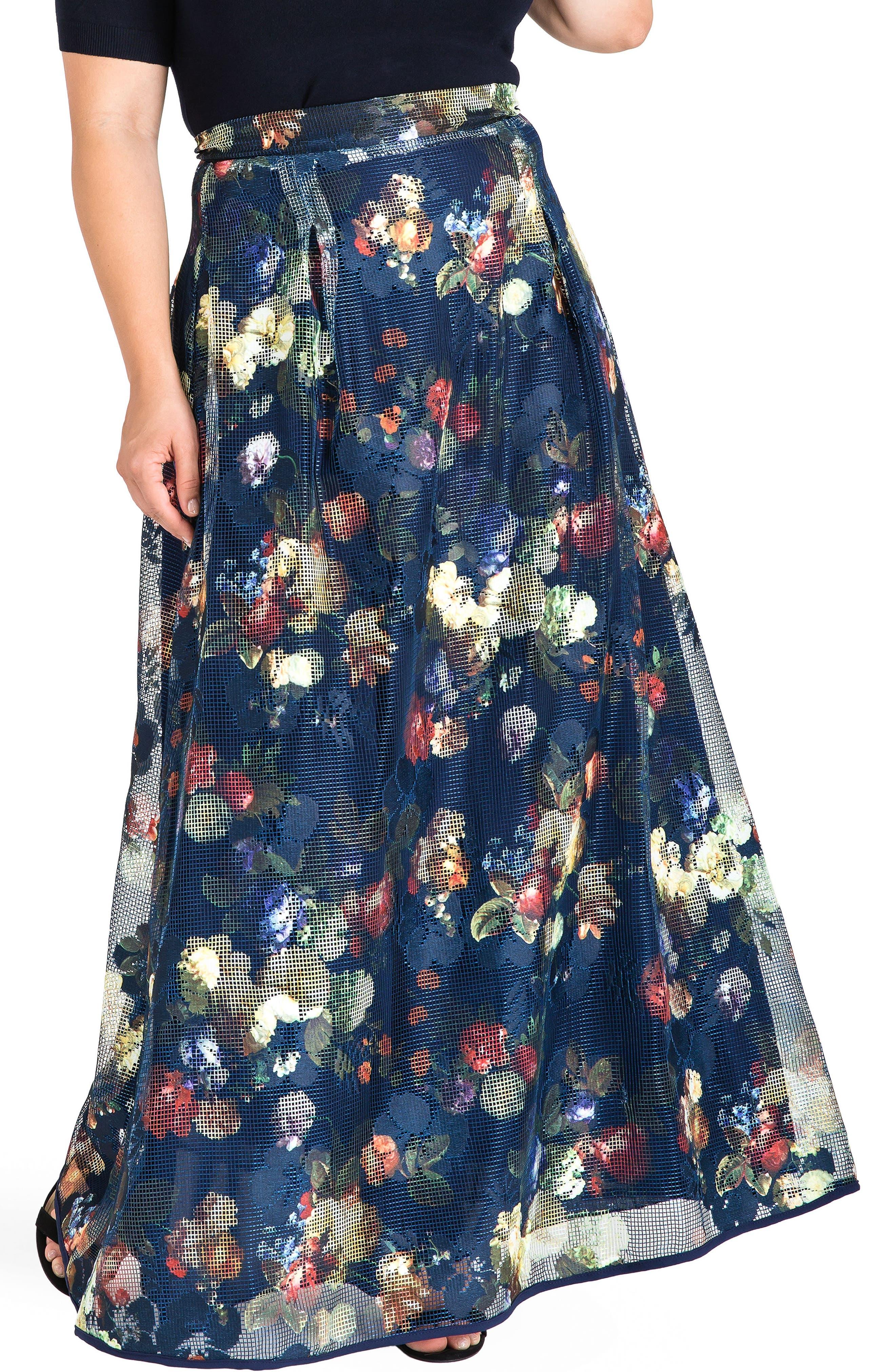 Iris Floral Mesh Maxi Skirt,                         Main,                         color, Navy Floral
