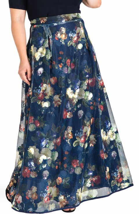 Standards & Practices Iris Floral Mesh Maxi Skirt (Plus Size)