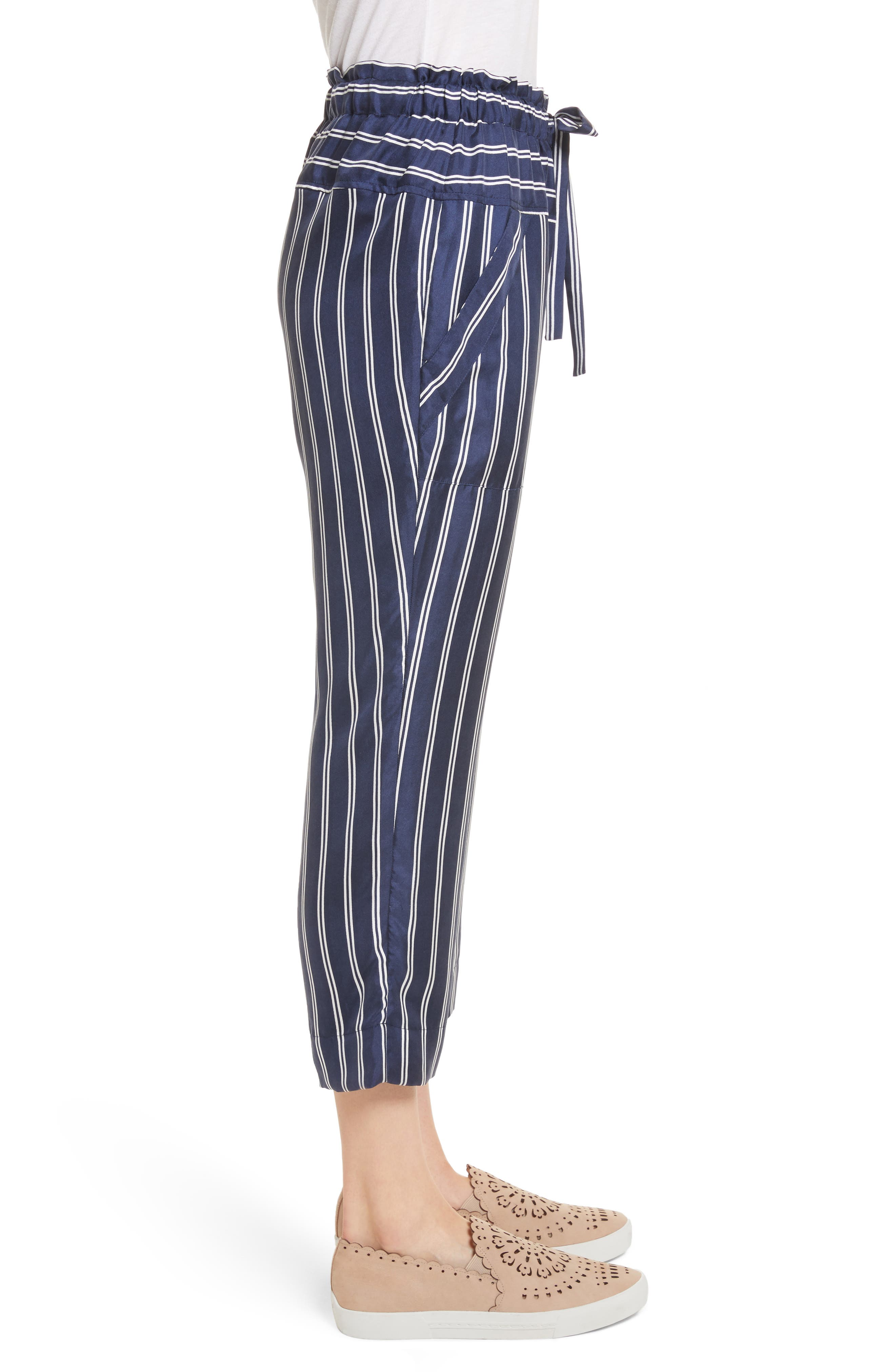 Addiena Stripe Silk Pants,                             Alternate thumbnail 3, color,                             Dark Navy
