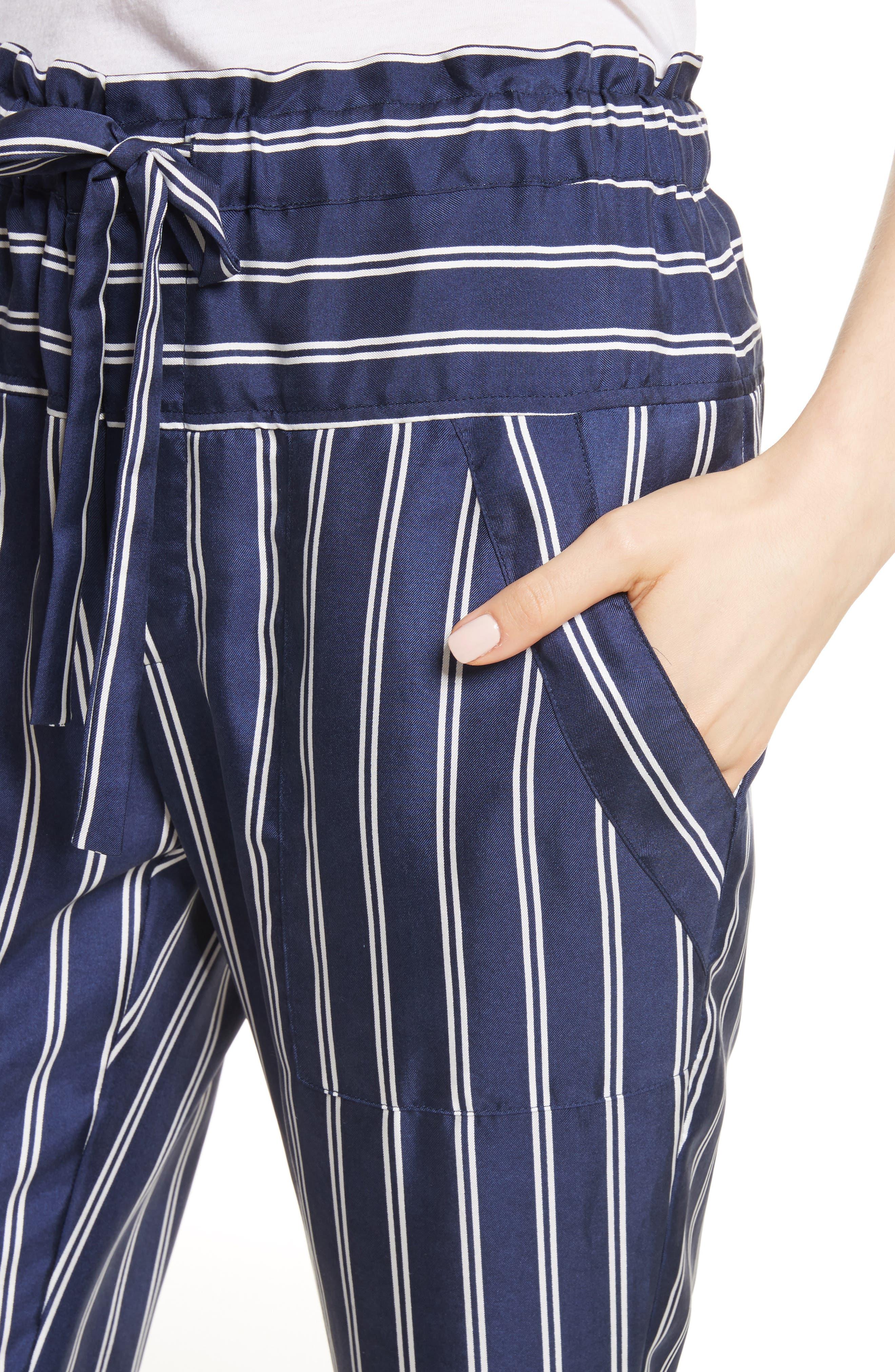 Addiena Stripe Silk Pants,                             Alternate thumbnail 4, color,                             Dark Navy