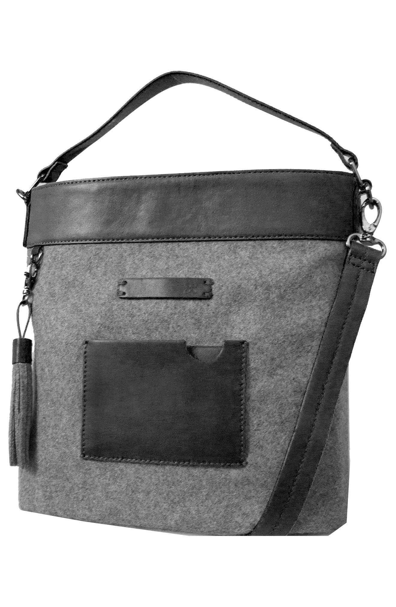 Boheme Wool & Leather Convertible Crossbody Bag,                             Alternate thumbnail 4, color,                             Slate