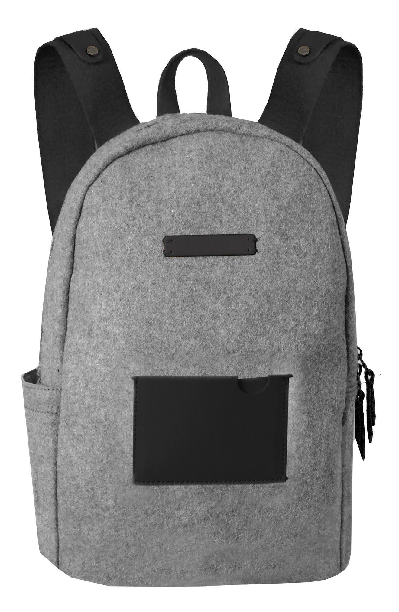 Indie Boiled Wool Backpack,                         Main,                         color, Slate
