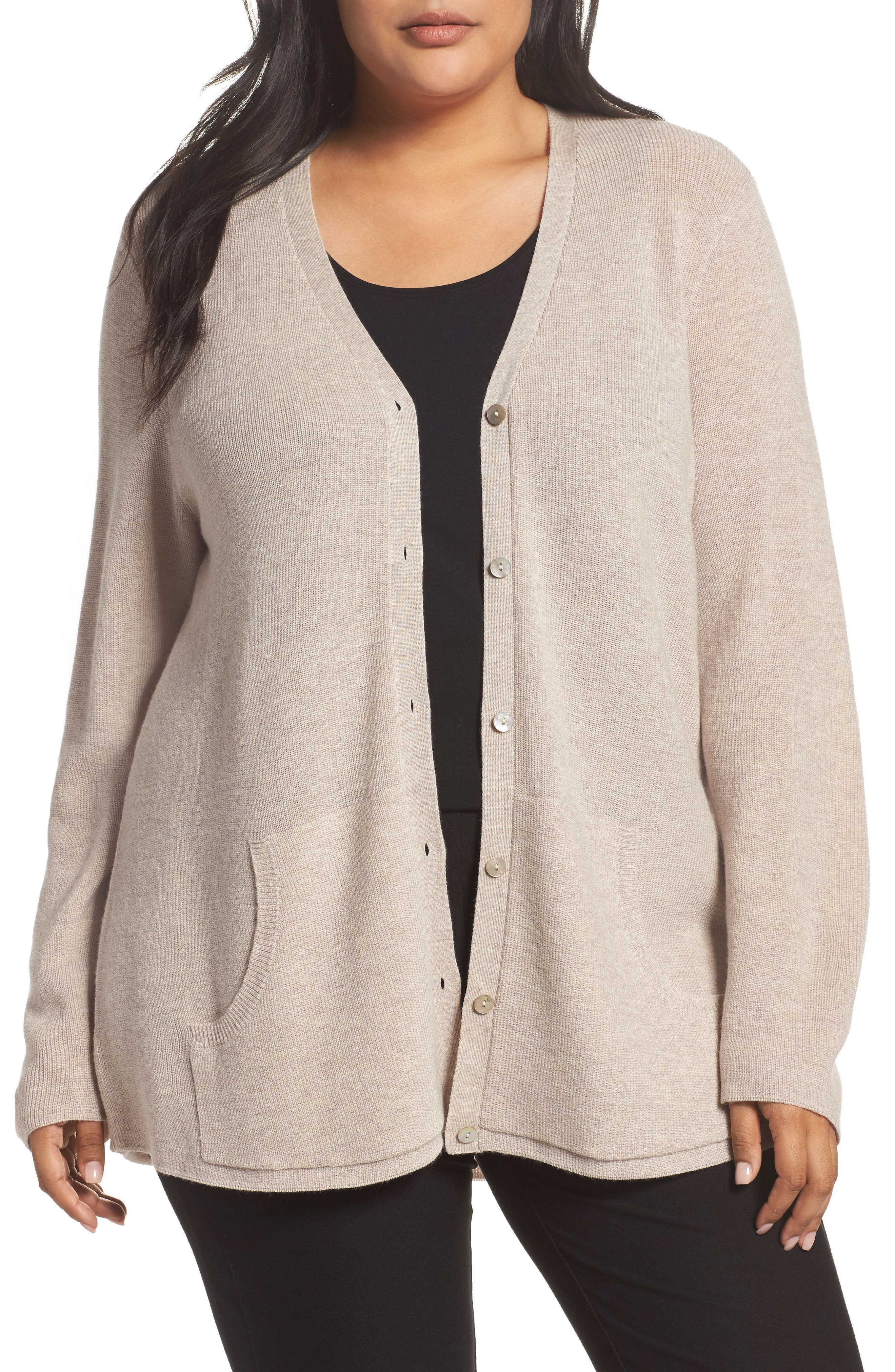 Alternate Image 1 Selected - Eileen Fisher V-Neck Merino Wool Cardigan (Plus Size)