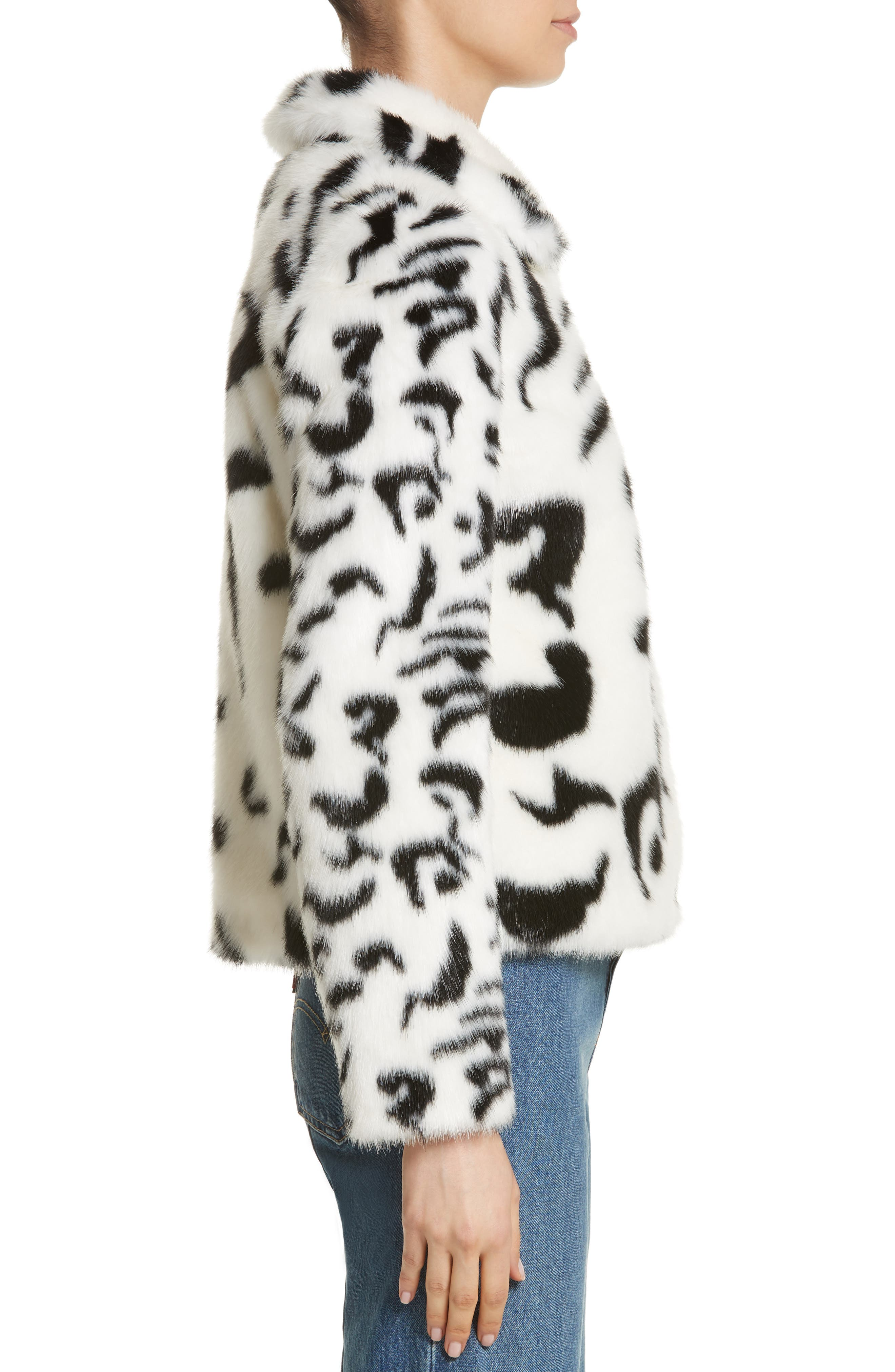 Junior Faux Fur Jacket,                             Alternate thumbnail 4, color,                             White/ Black