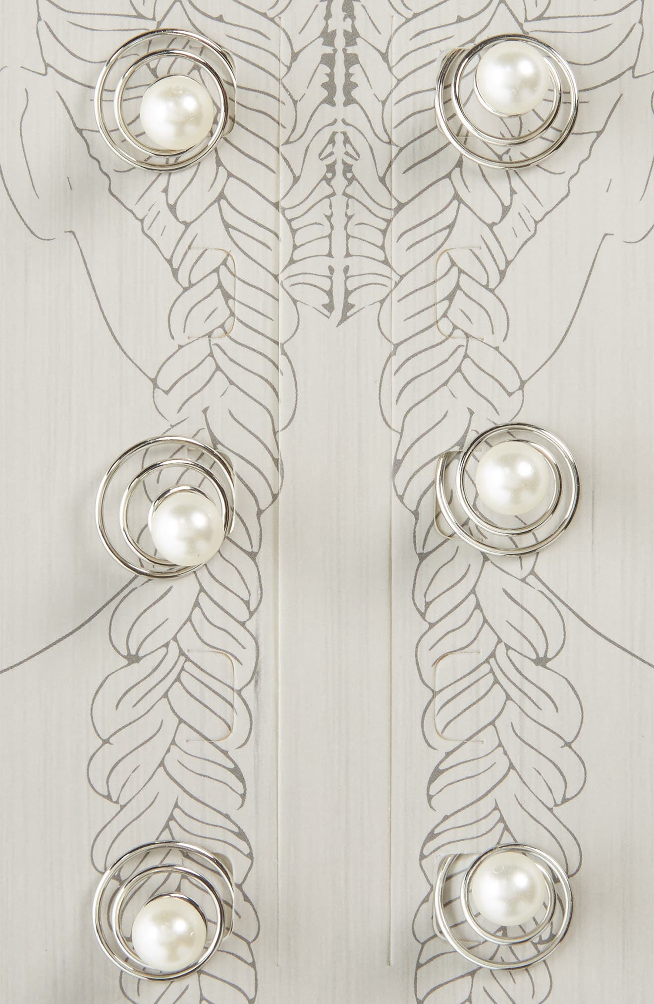 Set of 6 Imitation Pearl Swirl Rings,                             Alternate thumbnail 2, color,                             Ivory