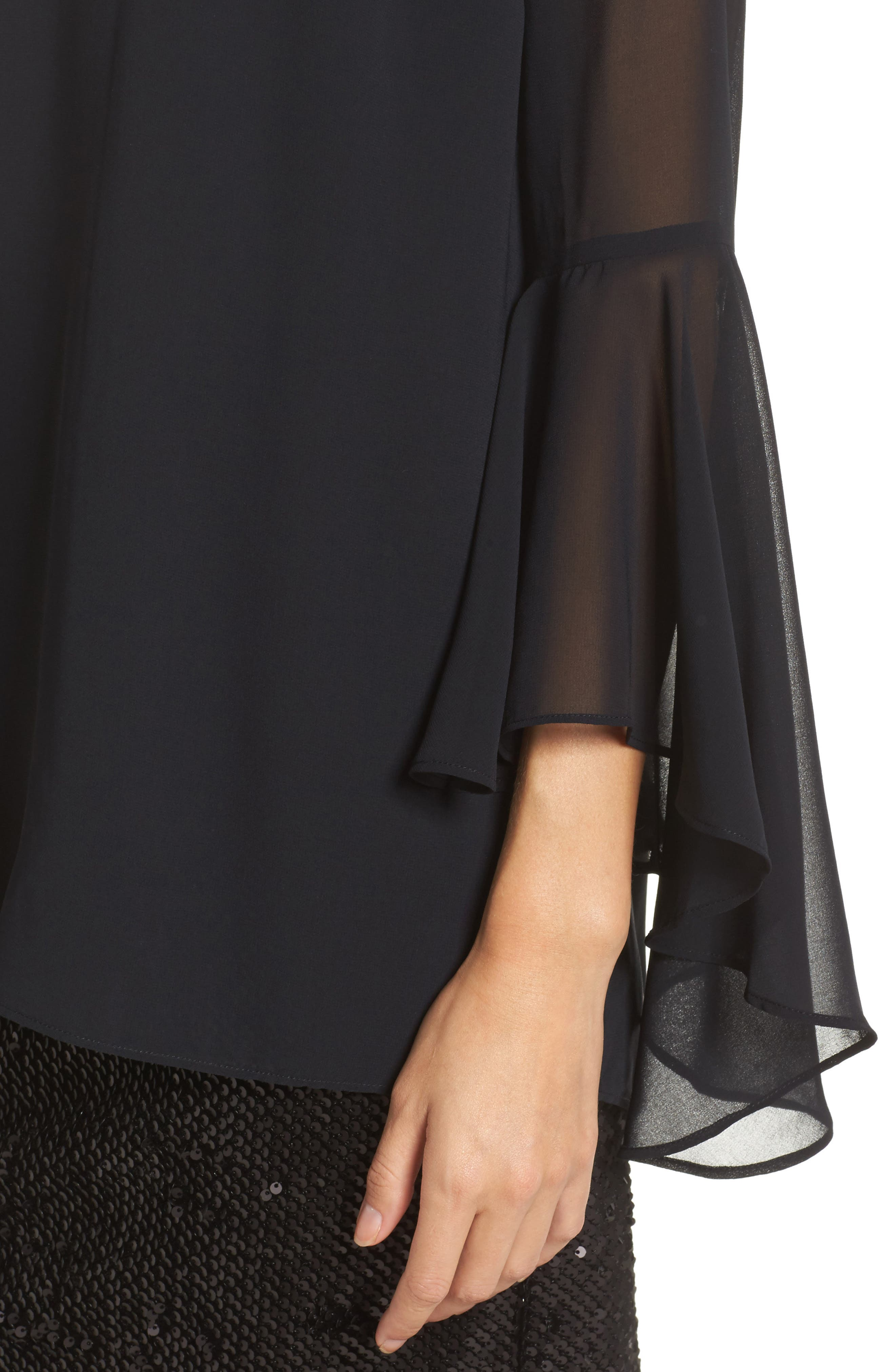 Sequin Chiffon Dress,                             Alternate thumbnail 4, color,                             Black Onyx