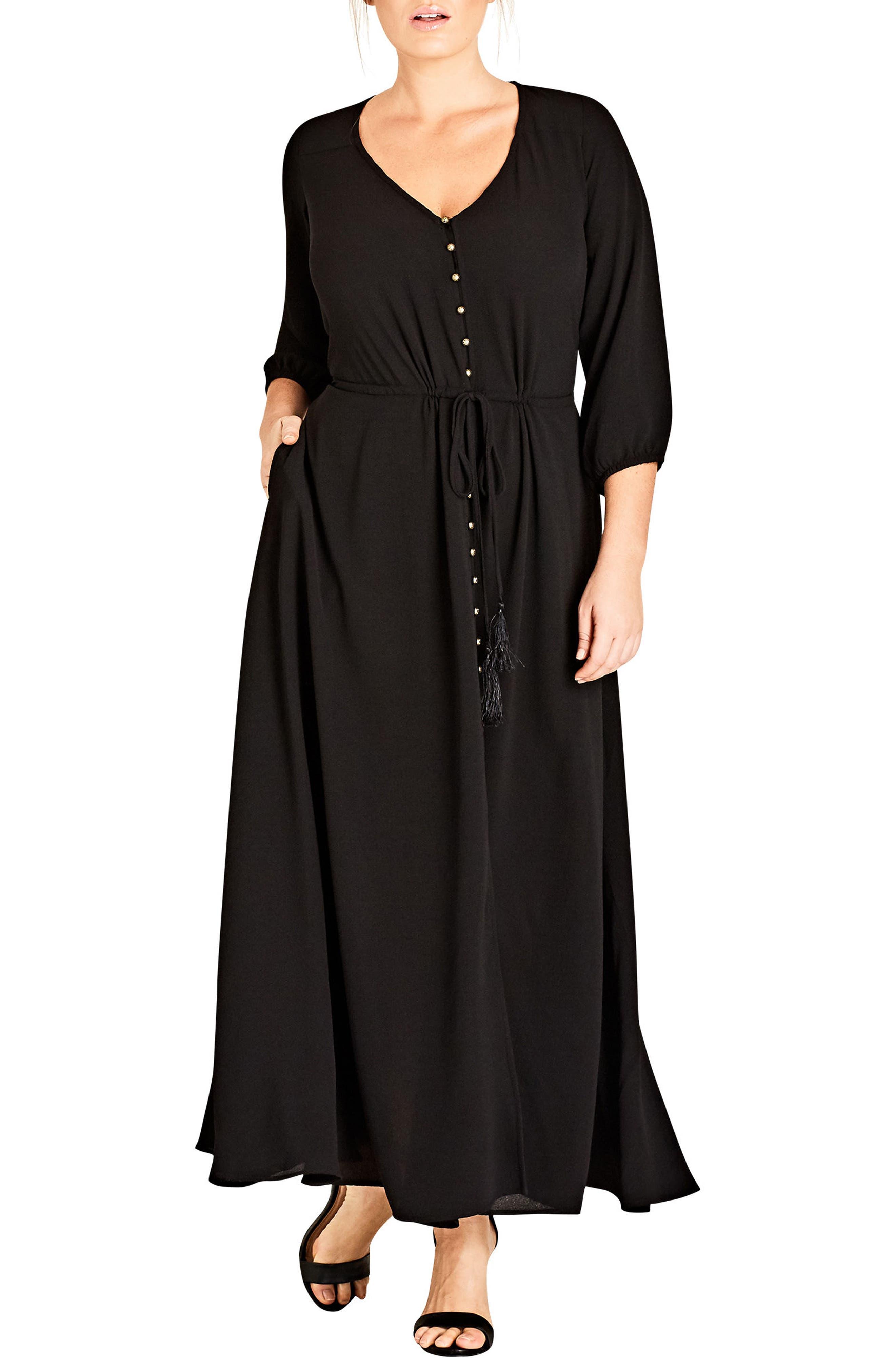 Simple Texture Maxi Dress,                         Main,                         color, Black