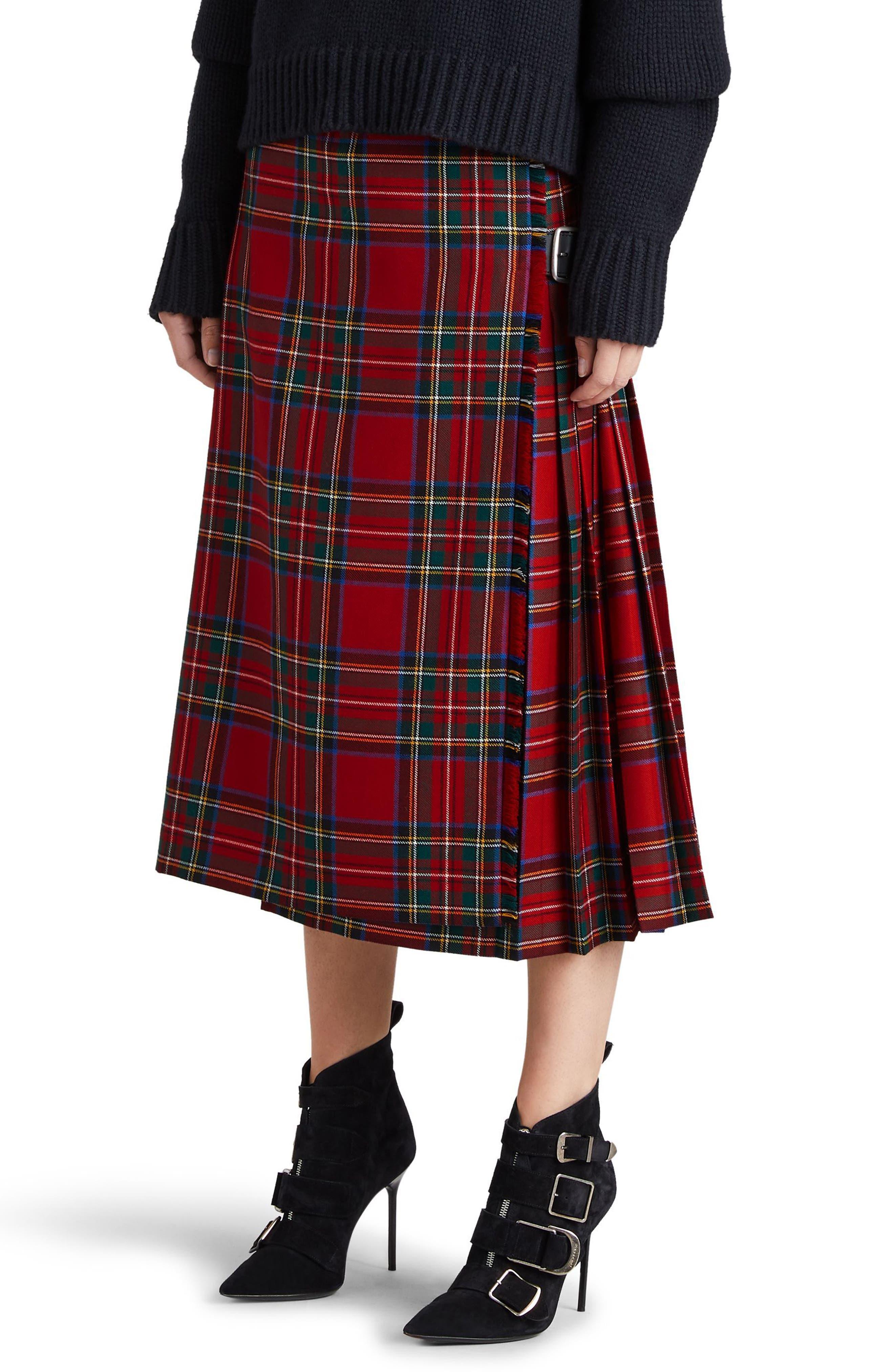 Alternate Image 3  - Burberry Taybridge Pleated Plaid Wool Midi Skirt