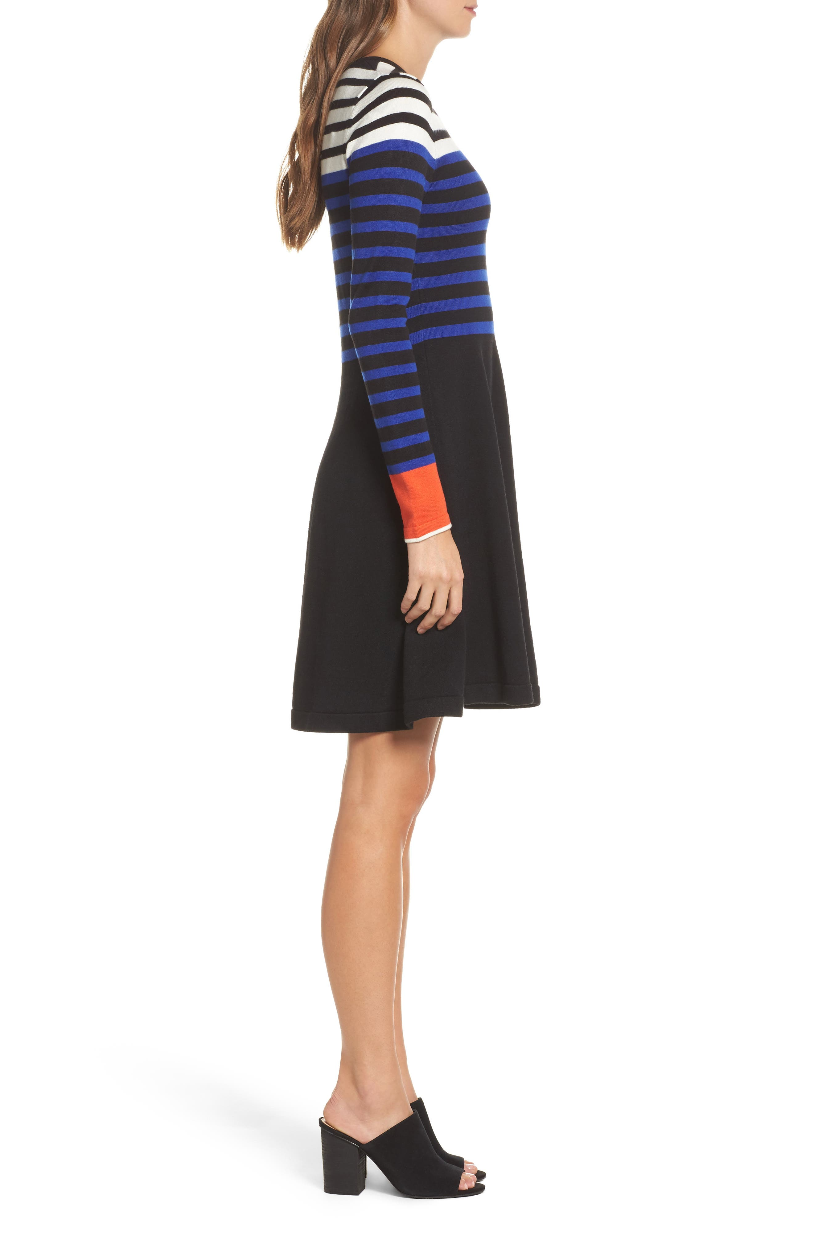 Stripe Sweater Fit & Flare Dress,                             Alternate thumbnail 3, color,                             Black