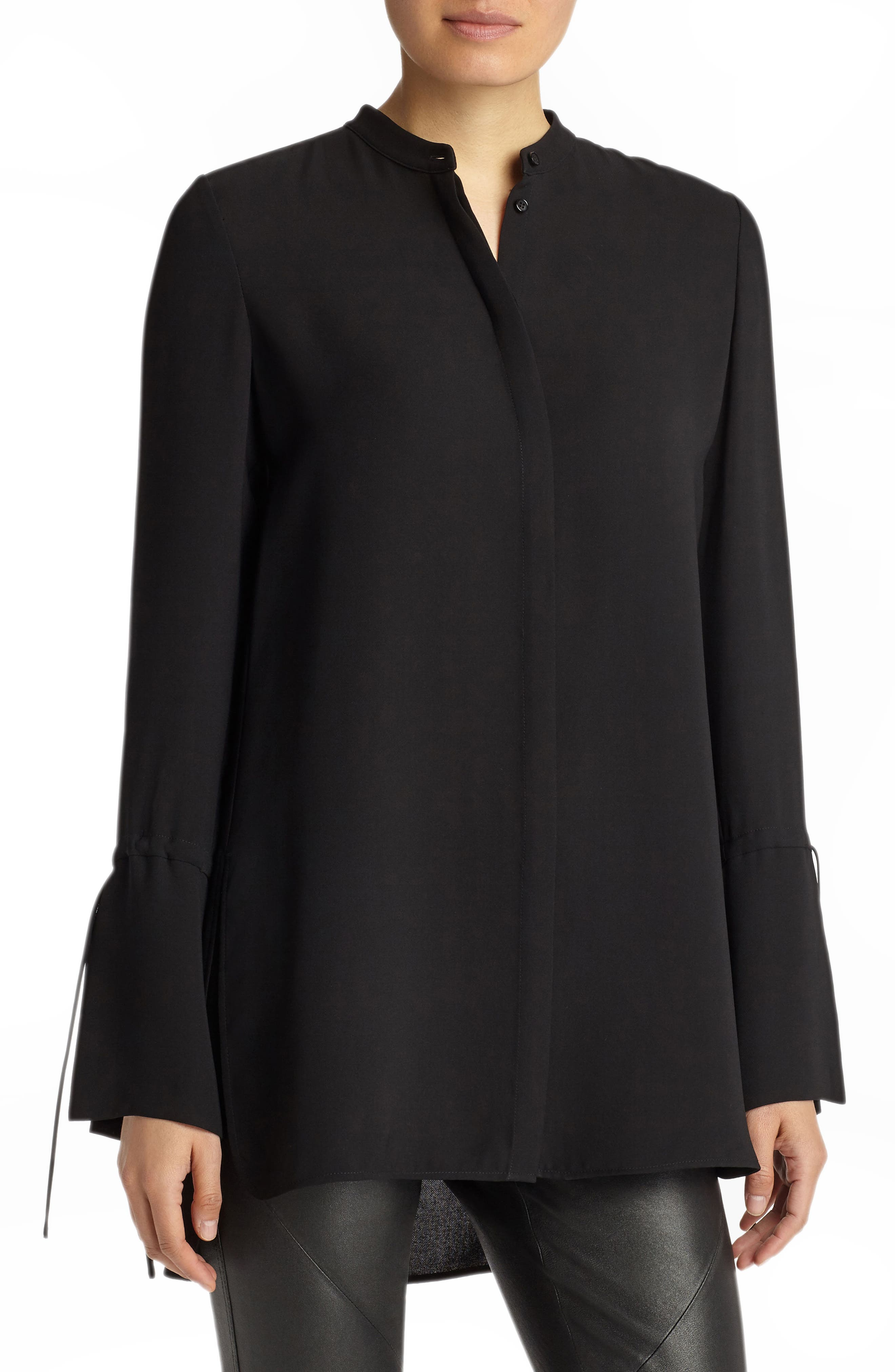 Desra Silk Blouse,                             Main thumbnail 1, color,                             Black