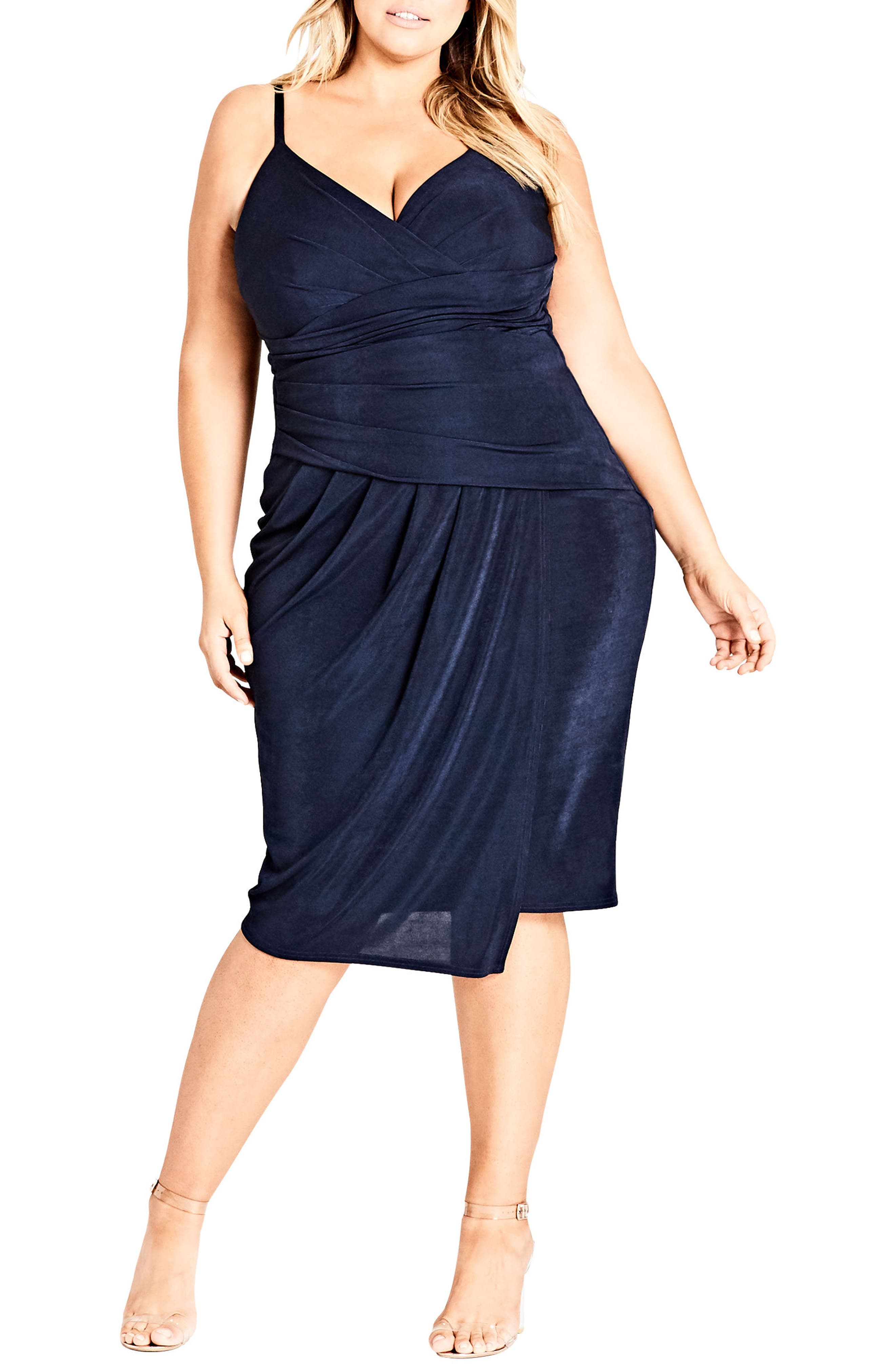Main Image - City Chic Hide and Seek Faux Wrap Dress (Plus Size)