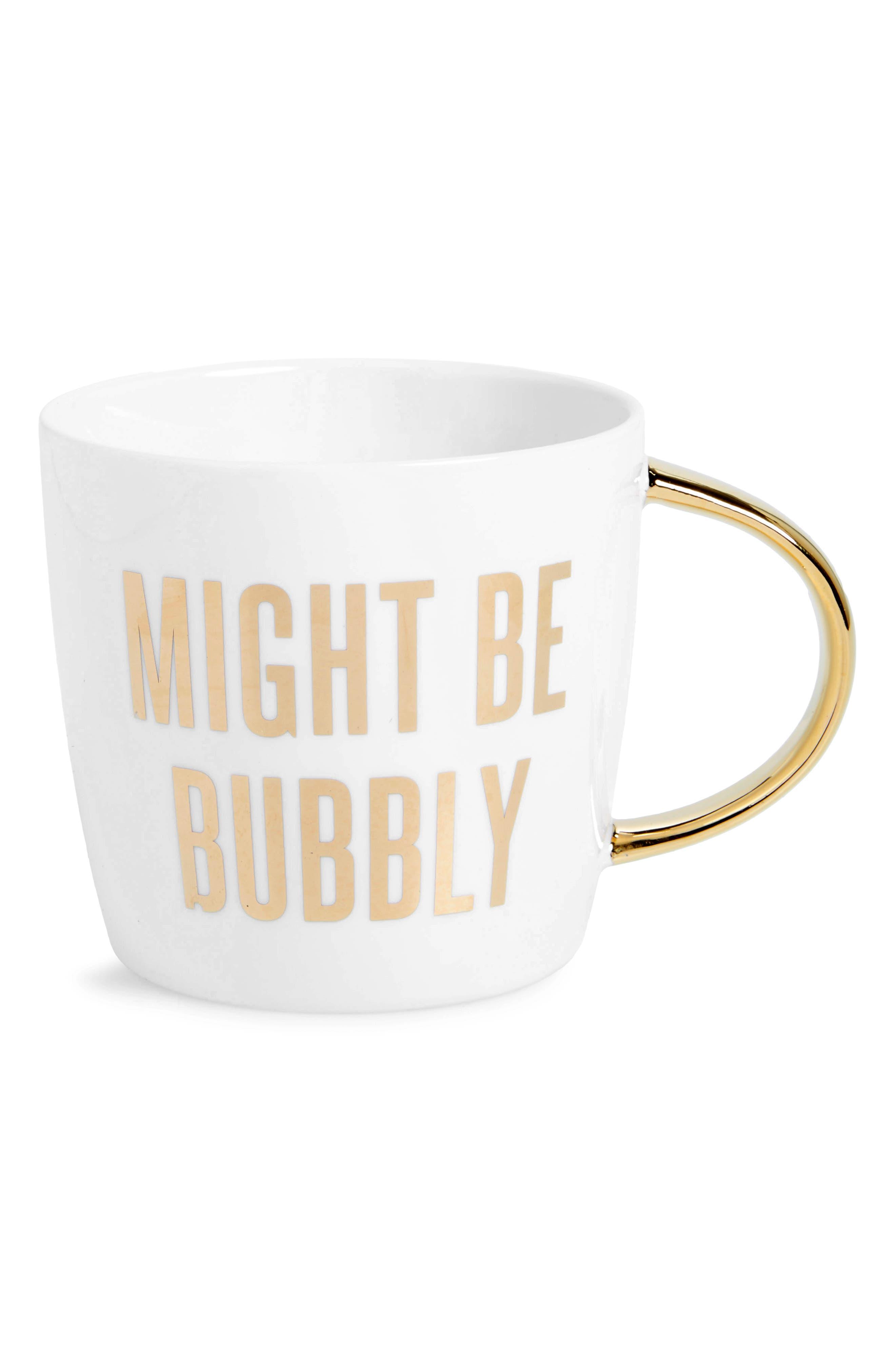 Might Be Bubbly Ceramic Mug,                             Main thumbnail 1, color,                             White