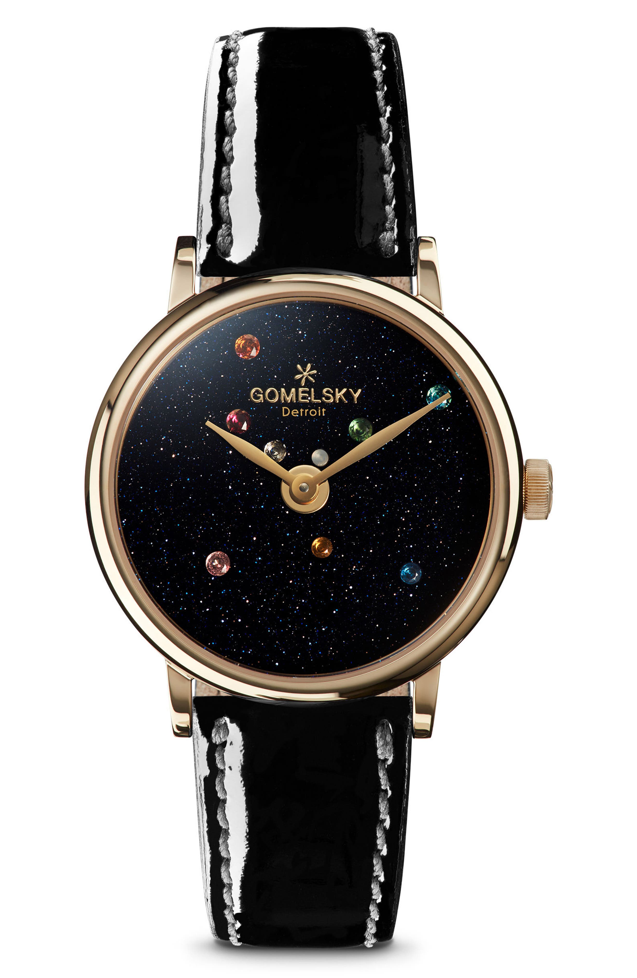 The Agnes Varis Solar System Leather Strap Watch, 32mm,                         Main,                         color, Black/ Sandstone/ Gold