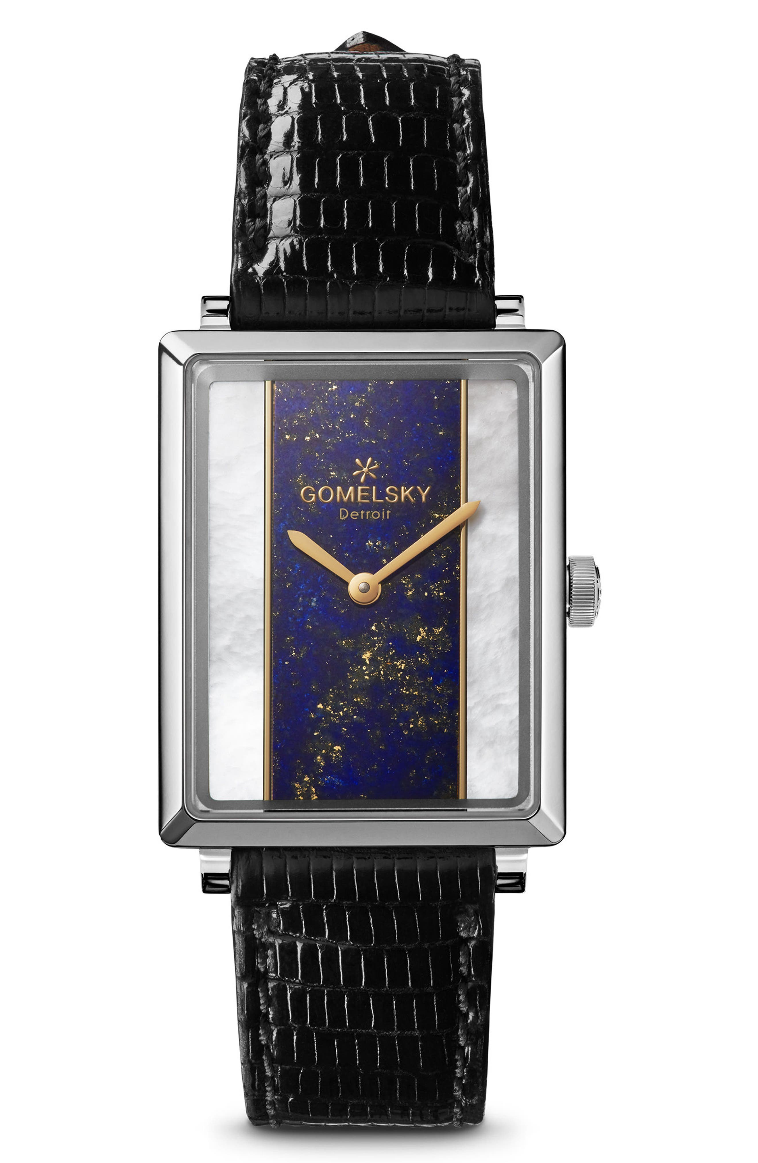 The Shirley Fromer Alligator Strap Watch, 32mm x 25mm,                         Main,                         color, Black/ Mop Lapis/ Gold
