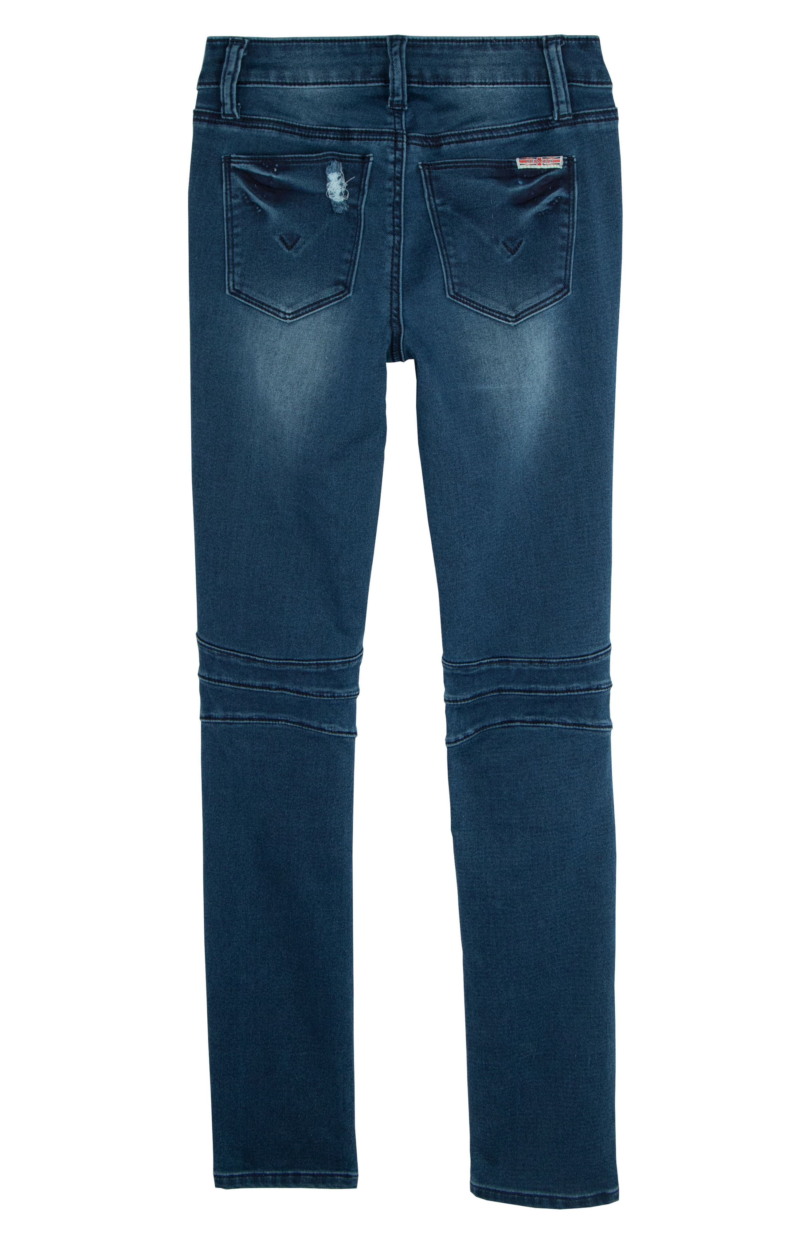 London Distressed Moto Skinny Jeans,                             Alternate thumbnail 2, color,                             Shaken Blue