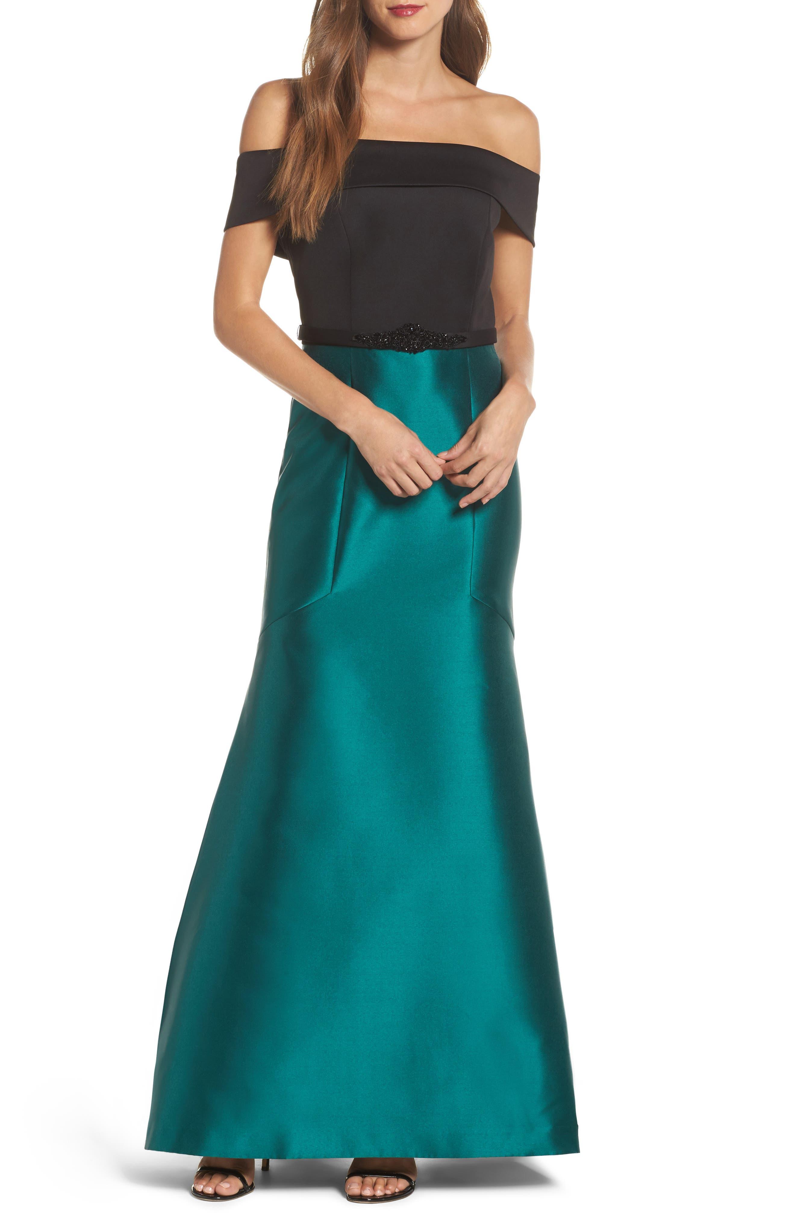 Mixed Media Off the Shoulder Trumpet Gown,                             Main thumbnail 1, color,                             Black Emerald