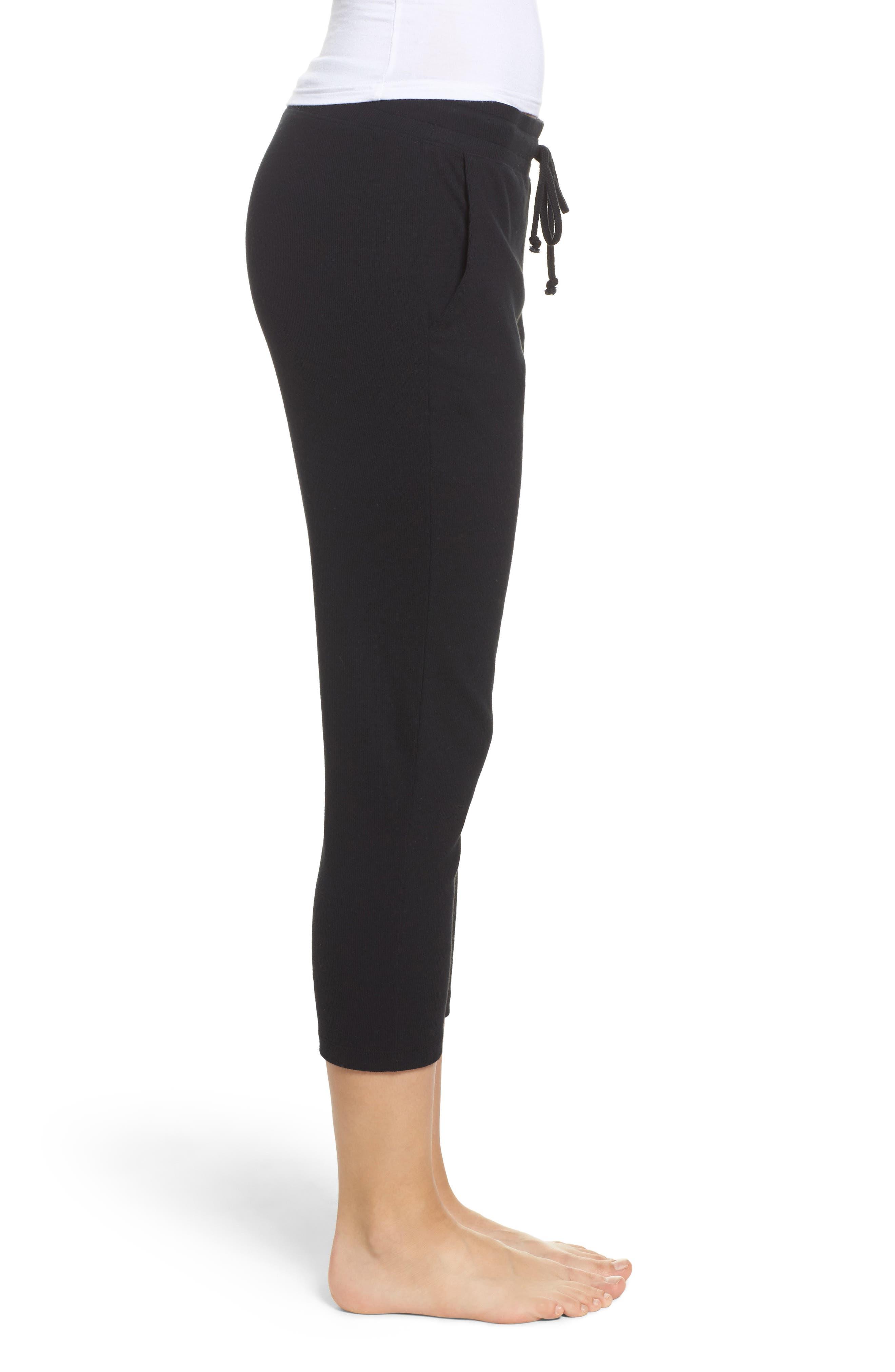 Carmin Crop Lounge Pants,                             Alternate thumbnail 3, color,                             Black