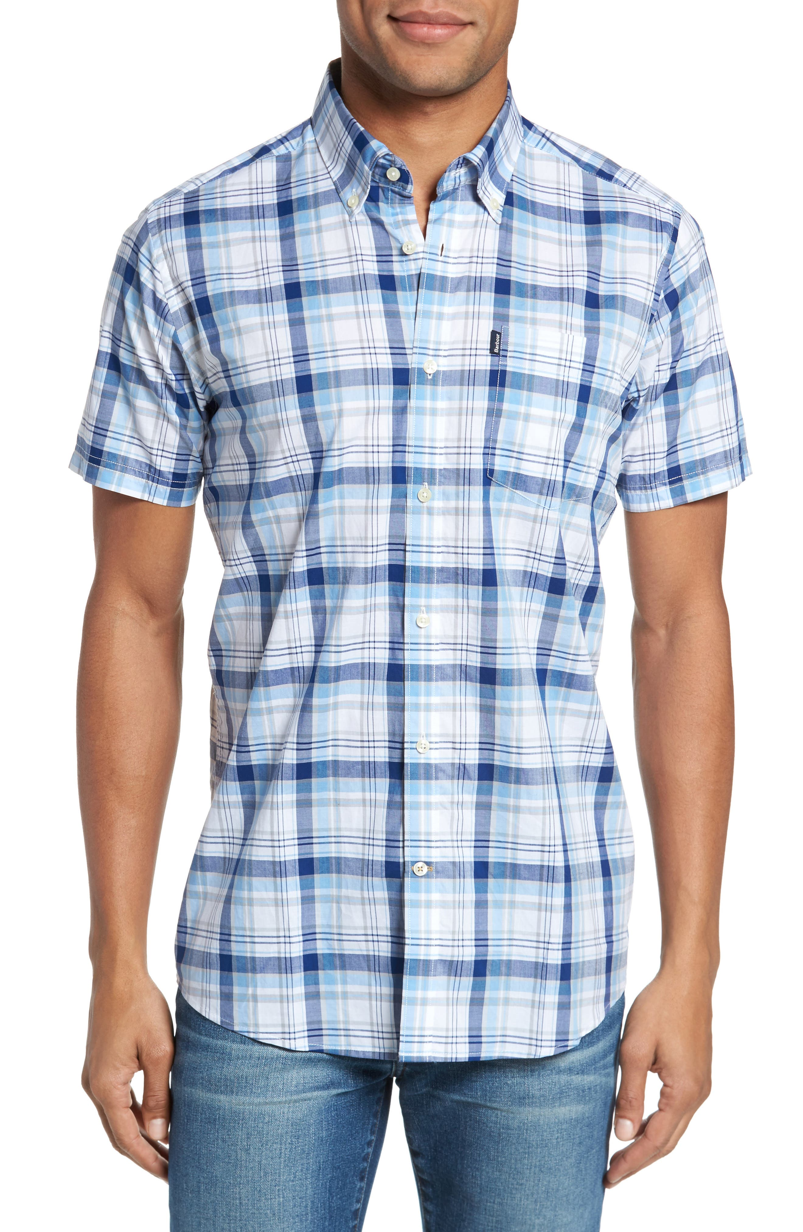 Gerald Tailored Fit Plaid Sport Shirt,                         Main,                         color, Blue