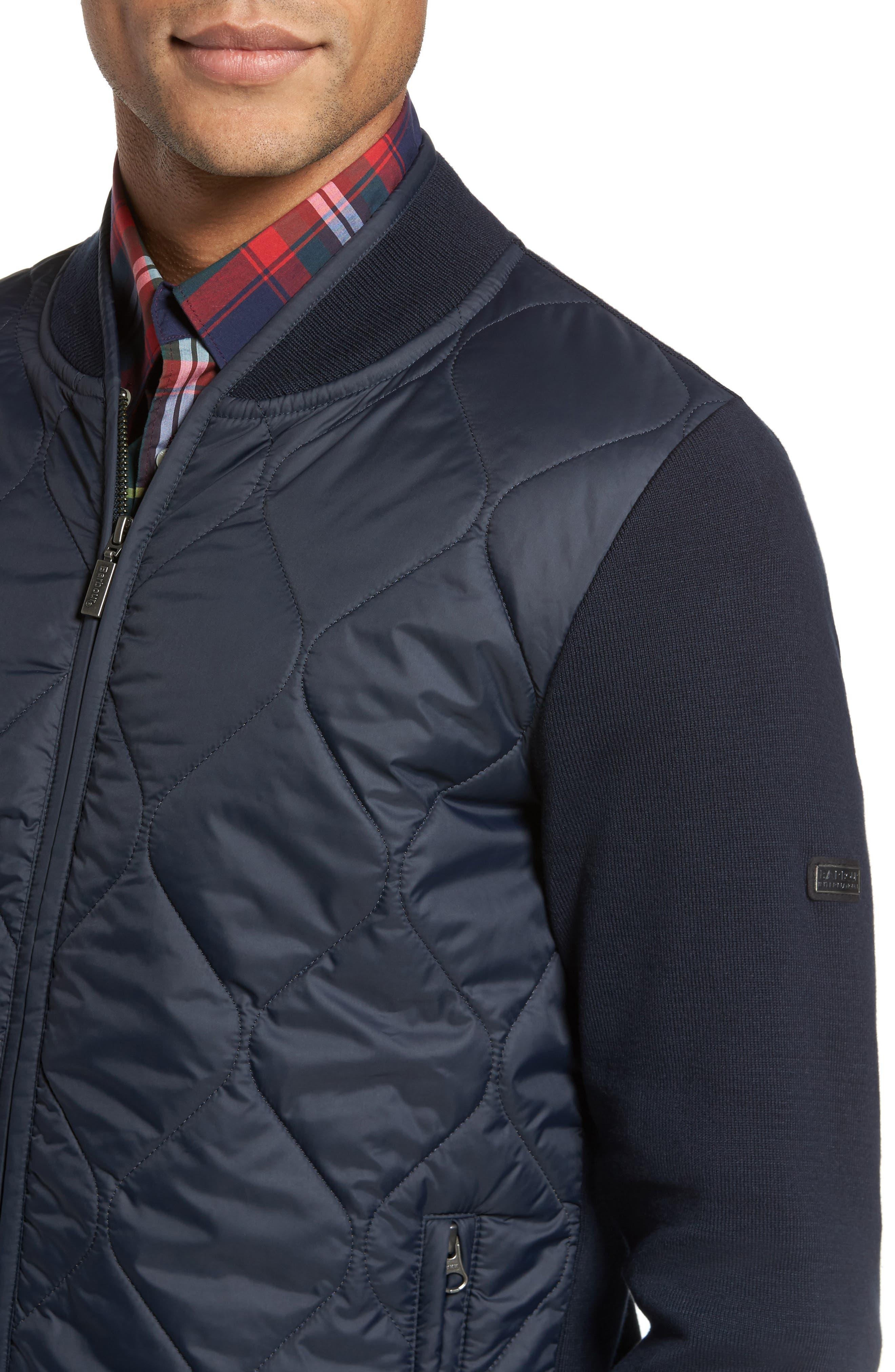 BI Quilt Front Knit Track Jacket,                             Alternate thumbnail 4, color,                             Navy