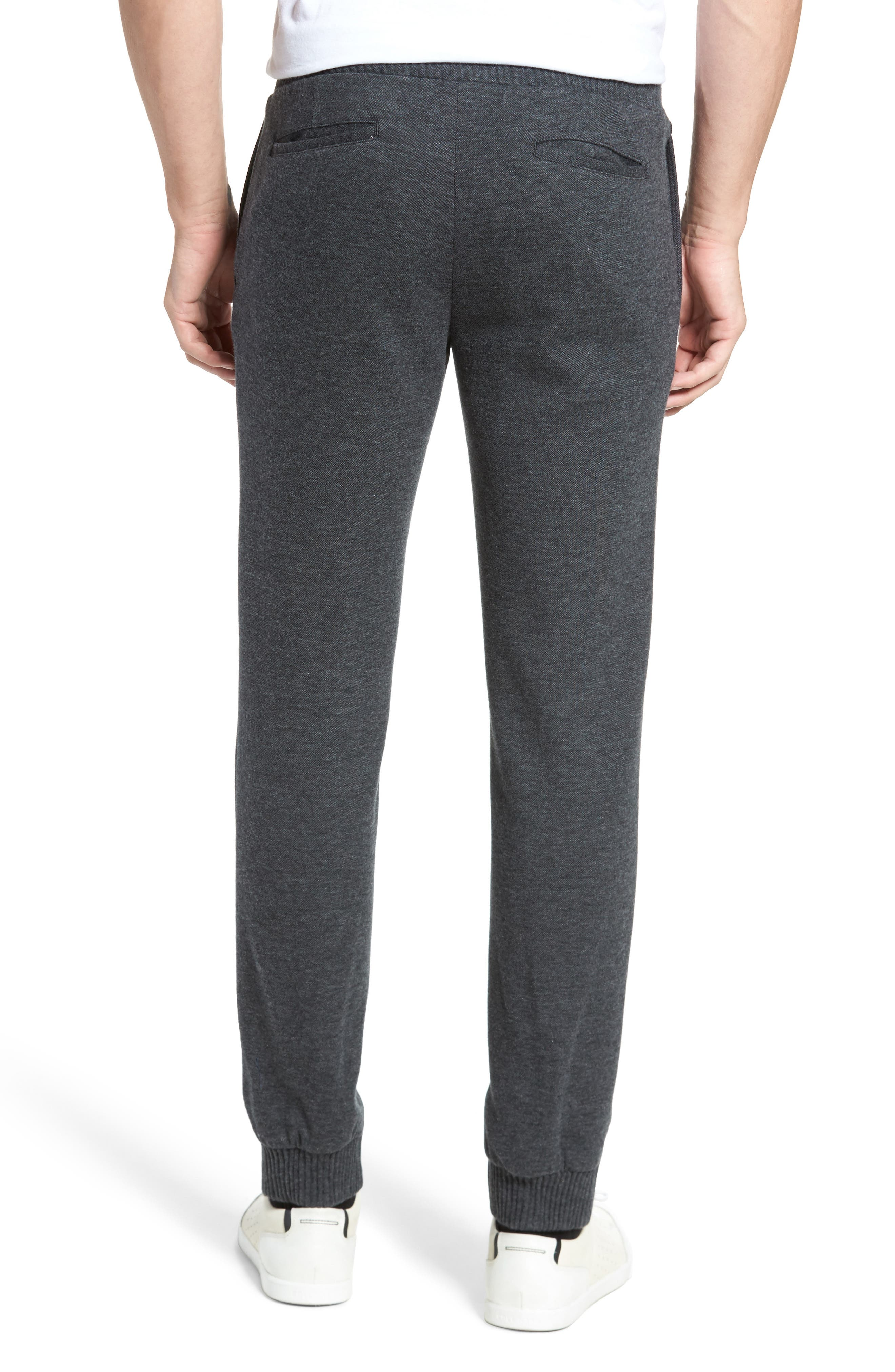 Jordan Flat Front Cotton Jogger Trousers,                             Alternate thumbnail 2, color,                             Medium Grey