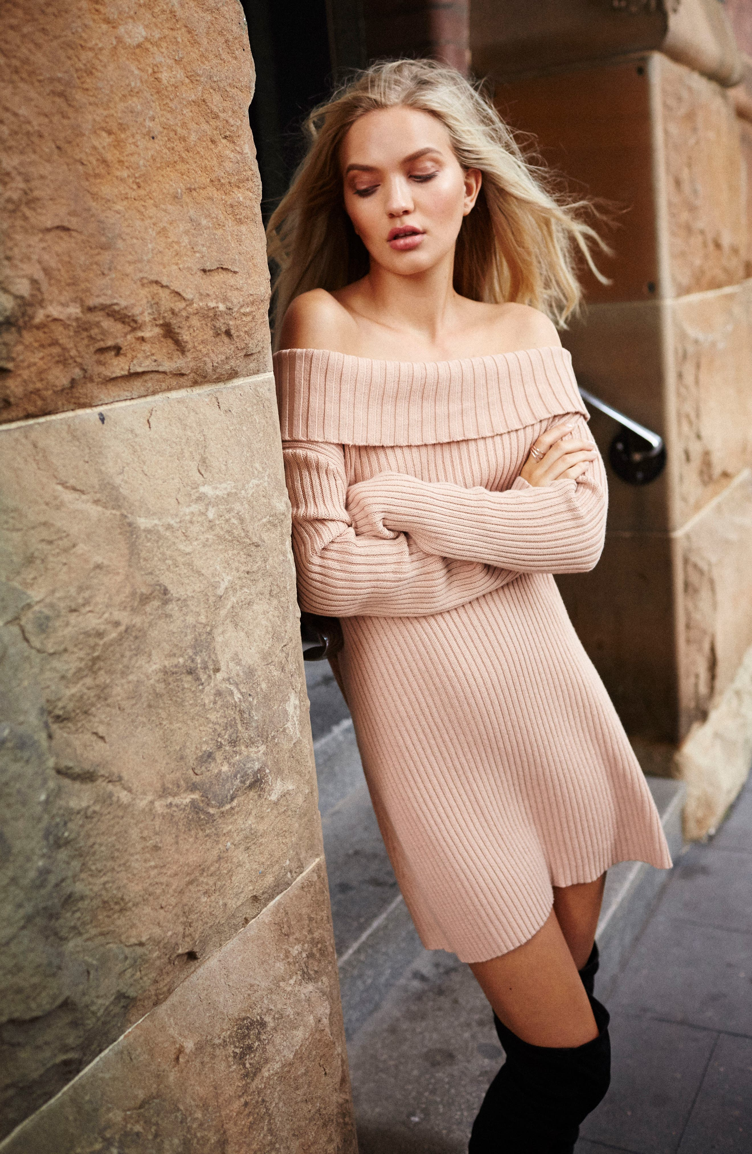 Like a Melody Off the Shoulder Dress,                             Alternate thumbnail 8, color,                             Dusty Pink