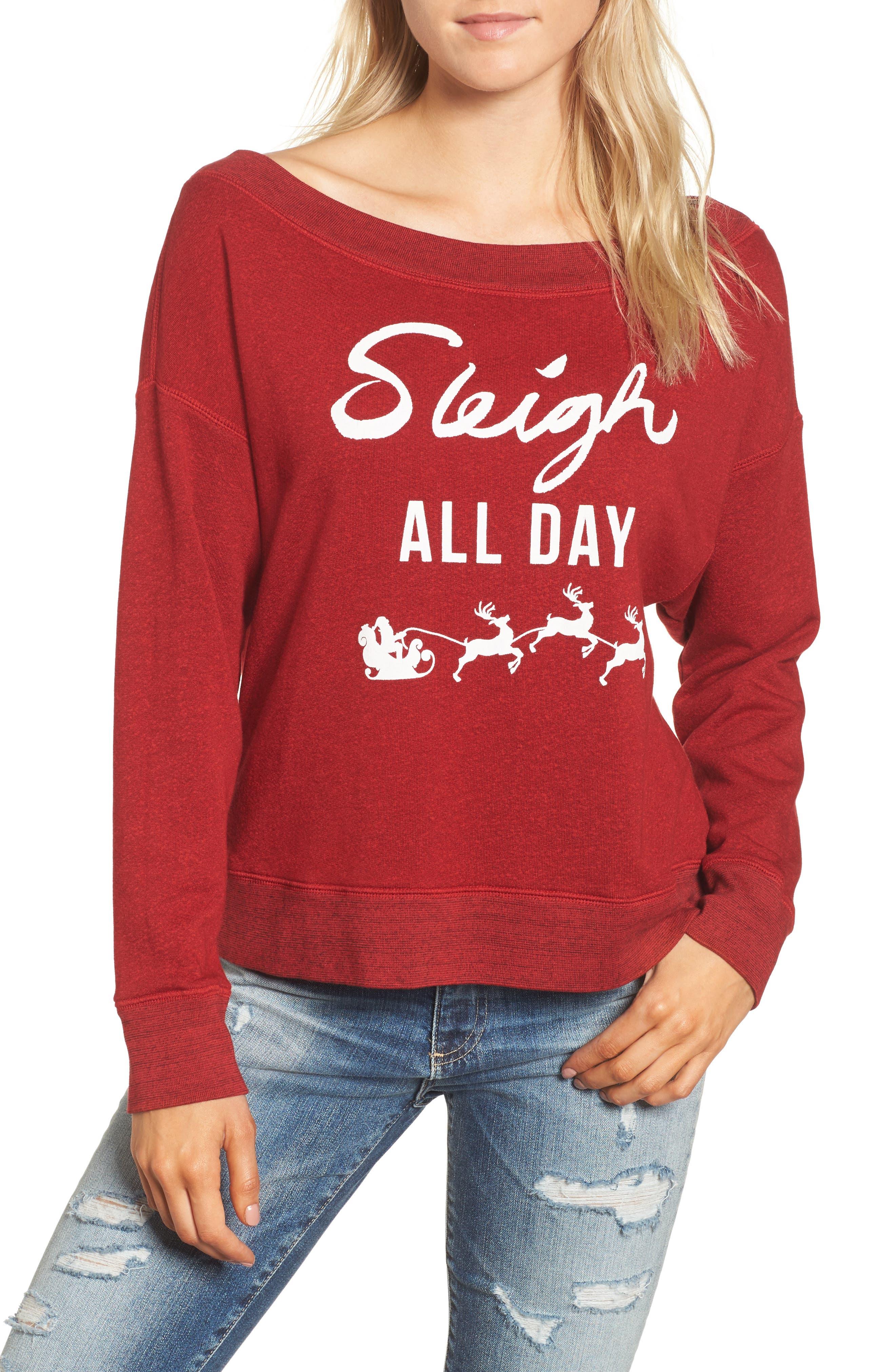 Sleigh All Day Sweatshirt,                         Main,                         color, Crimson