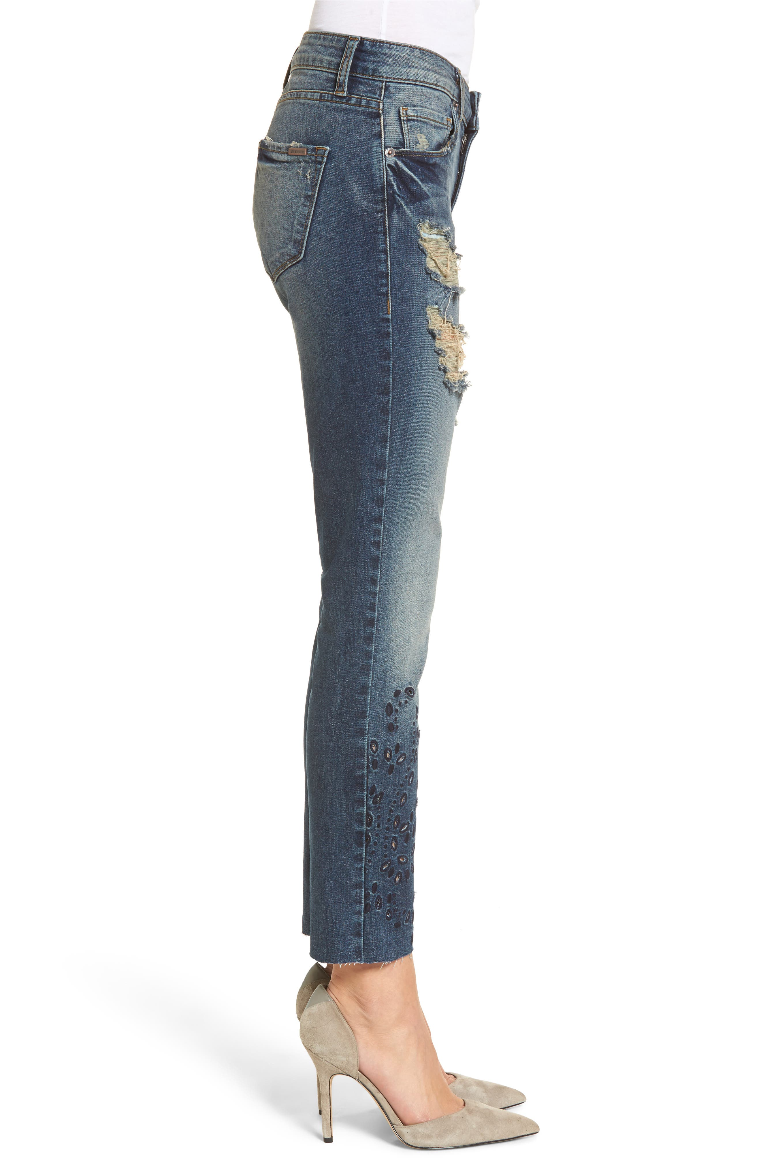 Alternate Image 3  - STS Blue Taylor Ripped Eyelet Straight Leg Jeans