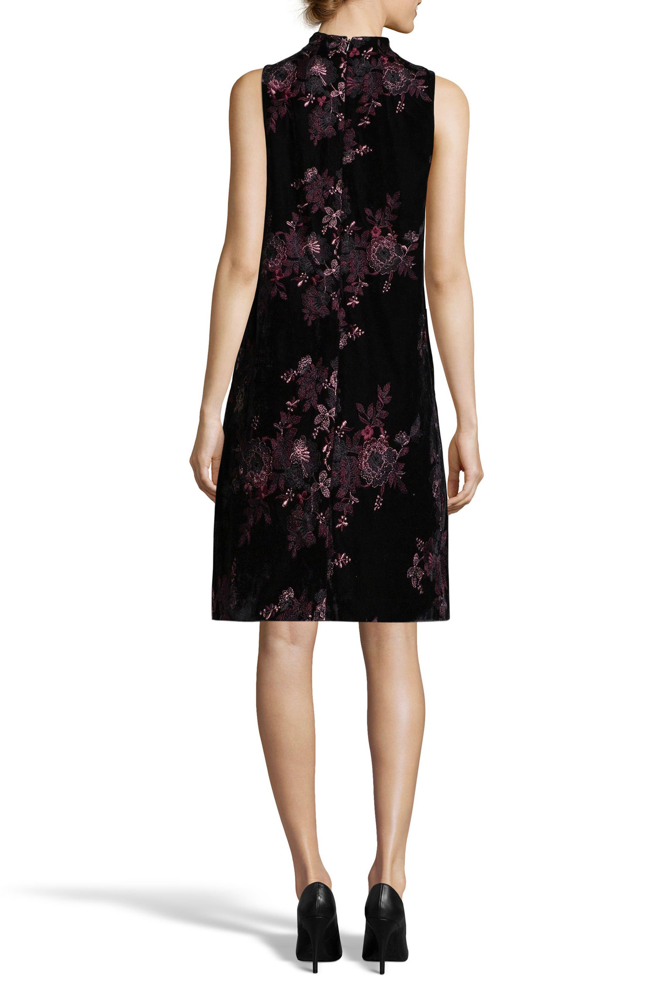 Embroidered Velvet Shift Dress,                             Alternate thumbnail 2, color,                             Black/ White