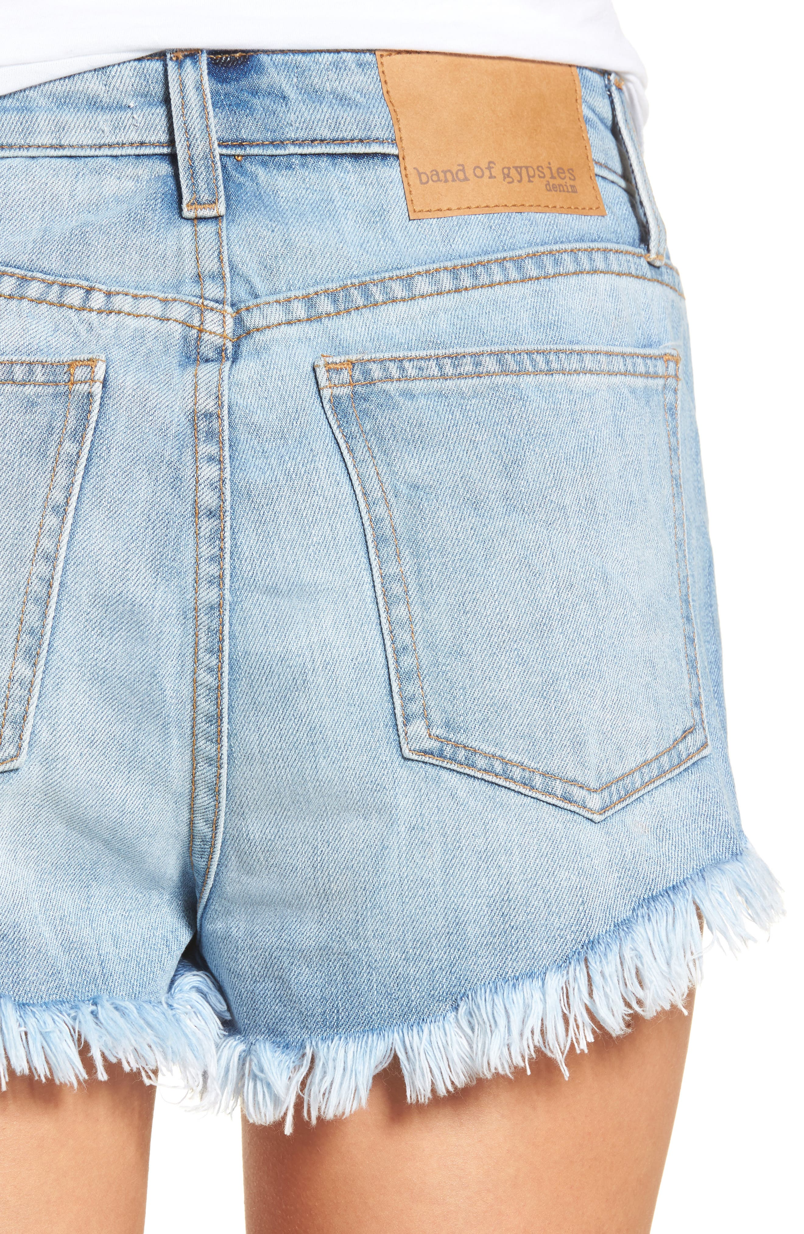 Riley Cheeky Denim Shorts,                             Alternate thumbnail 4, color,                             Blue Fest