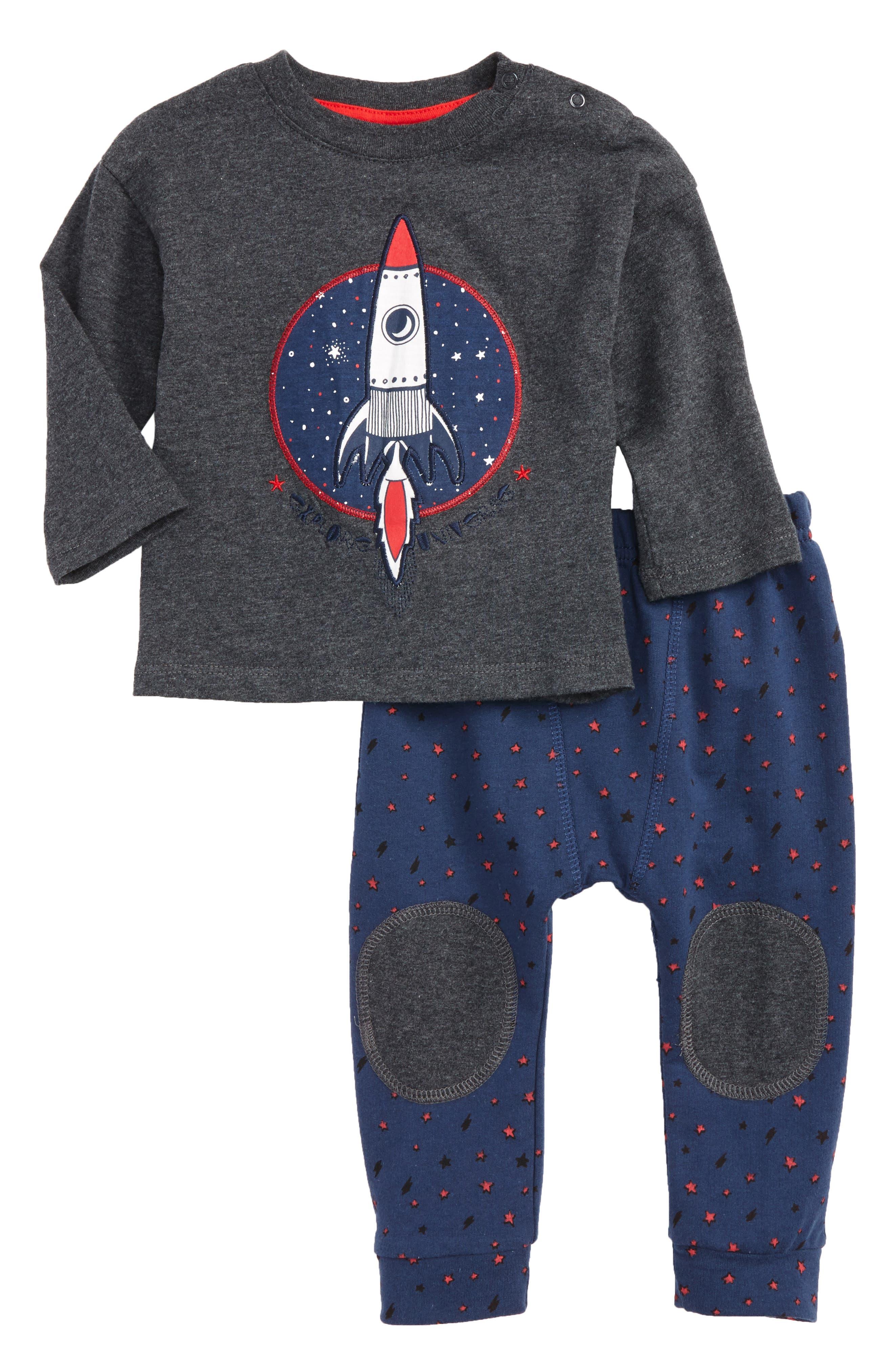 Rosie Pope Rocket Appliqué T-Shirt & Star Print Pants Set (Baby Boys)