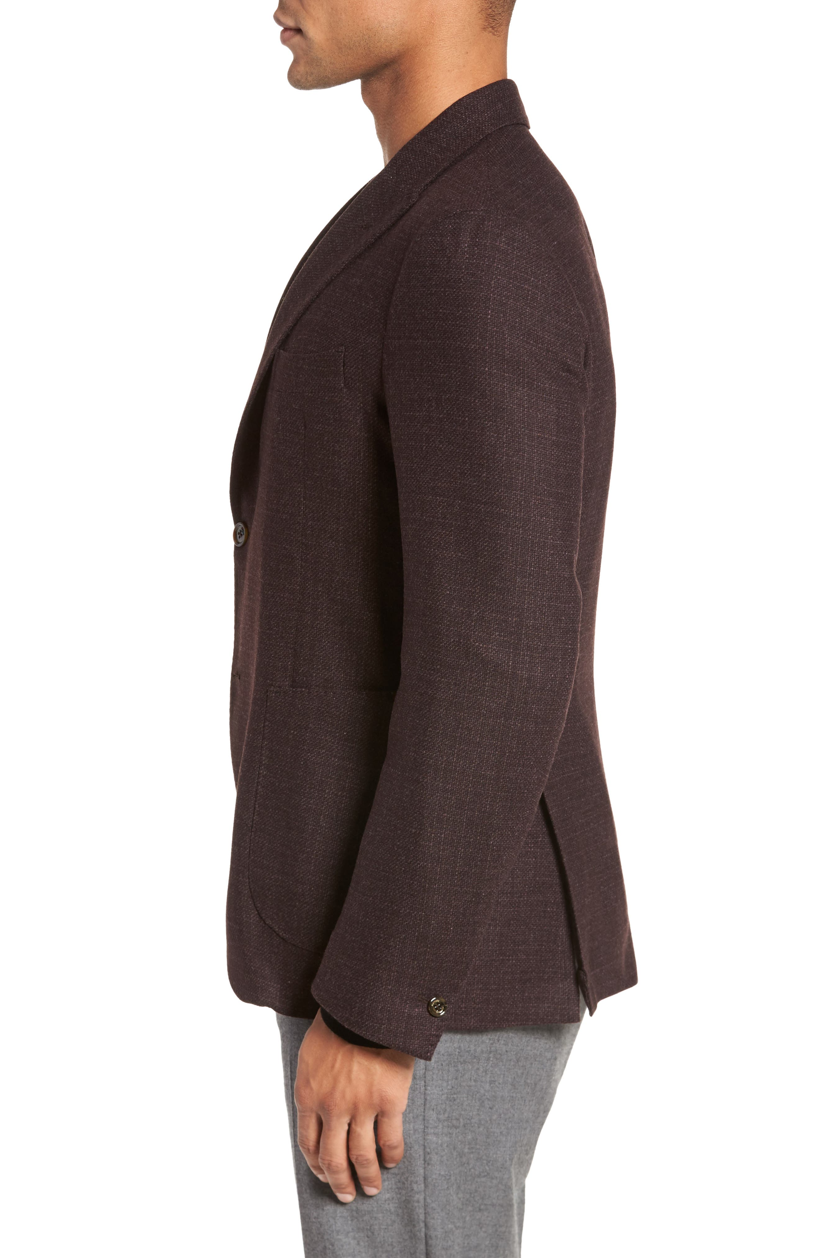 Trim Fit Wool & Cashmere Blazer,                             Alternate thumbnail 3, color,                             Wine