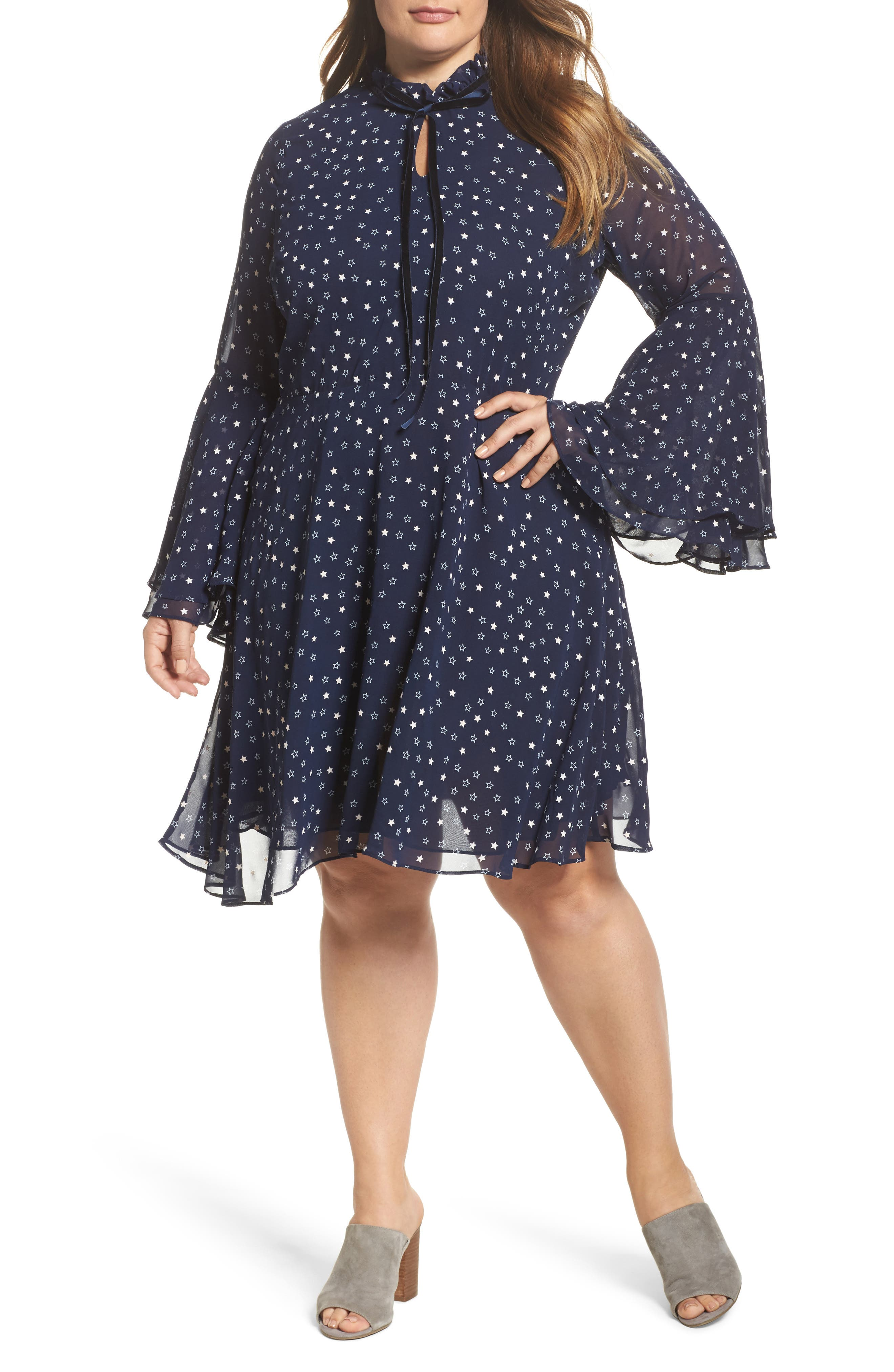 Bell Sleeve Floral Minidress,                         Main,                         color, Navy White Star