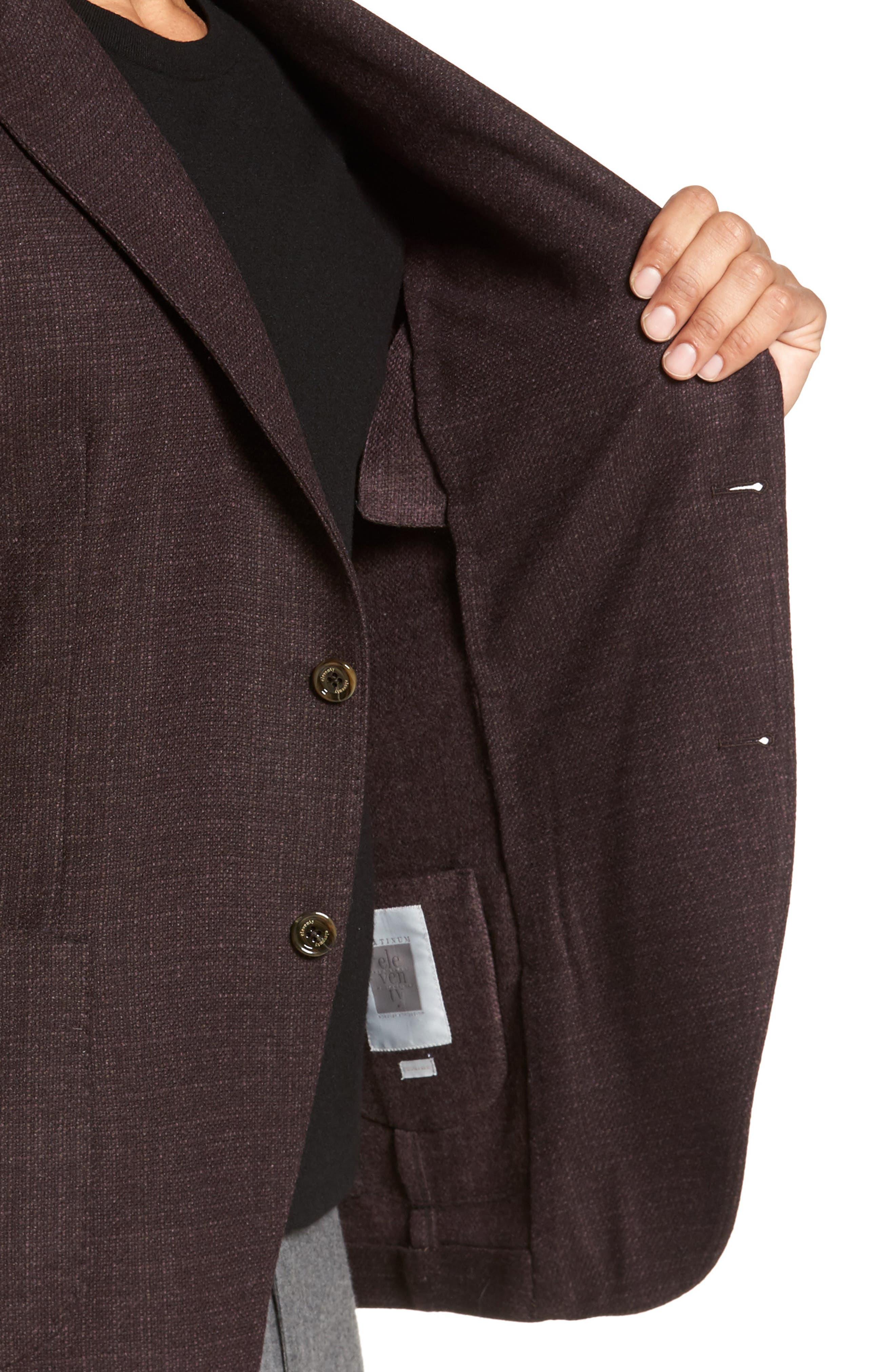 Trim Fit Wool & Cashmere Blazer,                             Alternate thumbnail 4, color,                             Wine