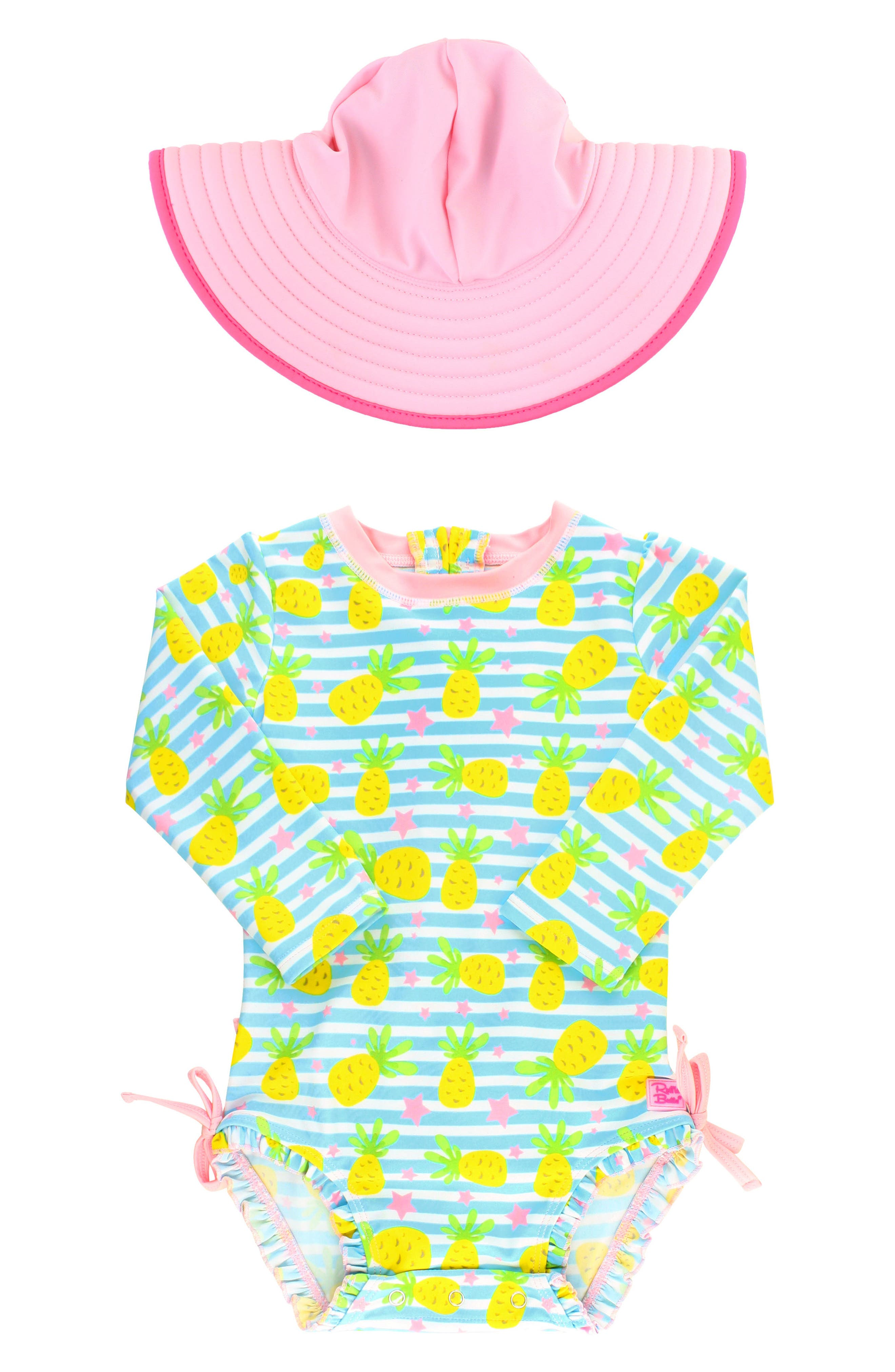 Ruffle Butts Pineapple One-Piece Rashguard Swimsuit & Sun Hat Set,                             Main thumbnail 1, color,                             Blue