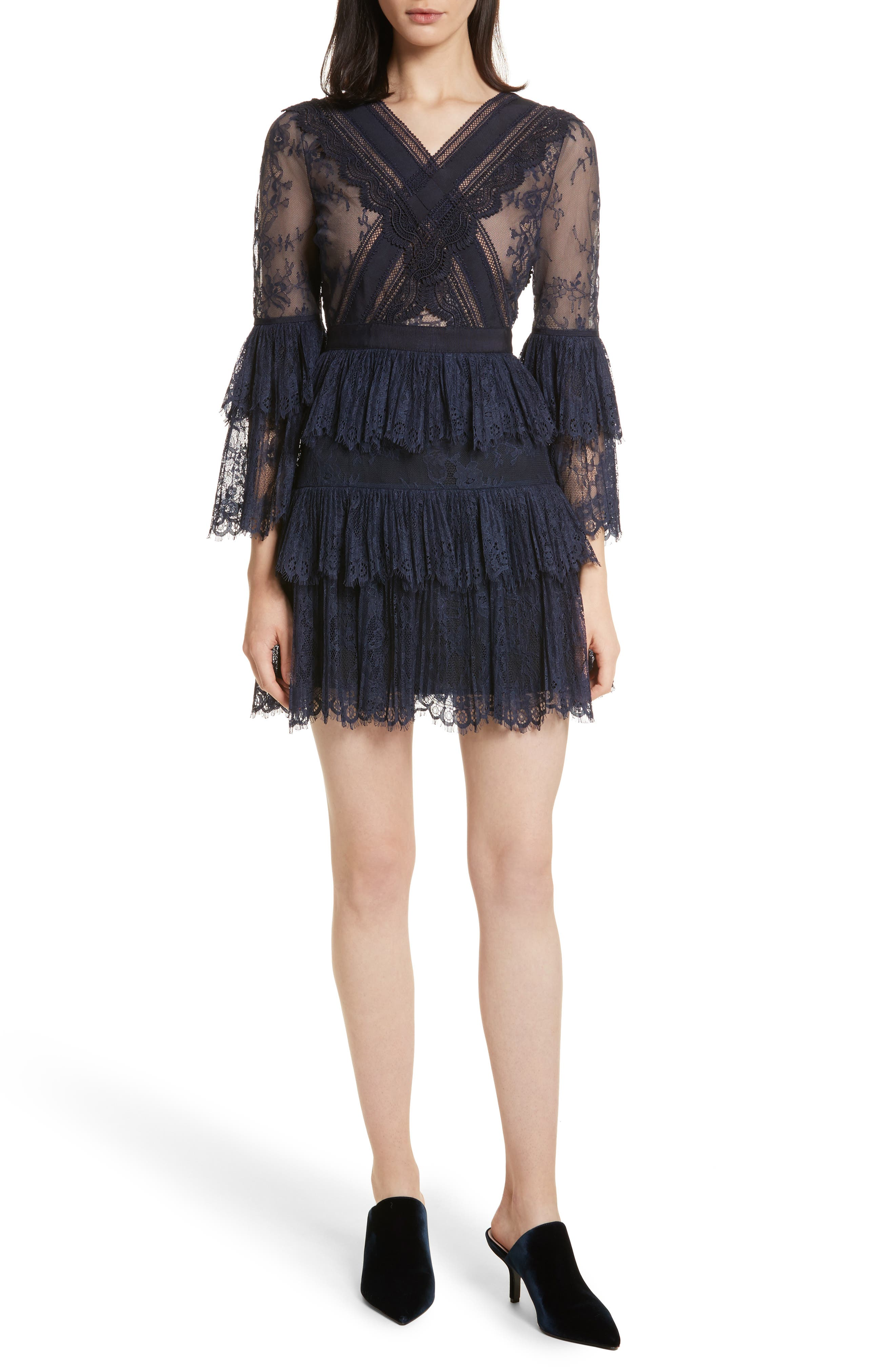 Pleated Lace Dress,                         Main,                         color, Dark Blue