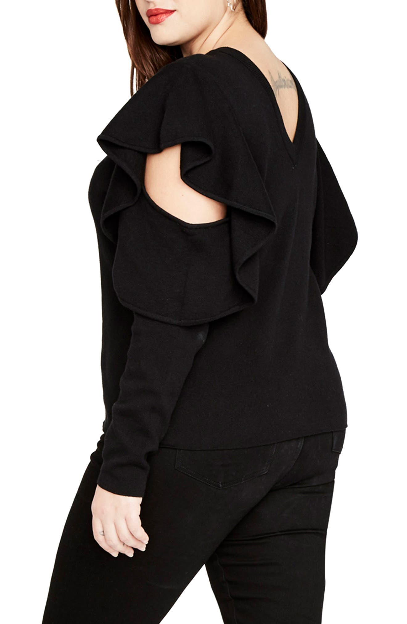 Ruffle Sleeve Sweater,                             Alternate thumbnail 3, color,                             Black