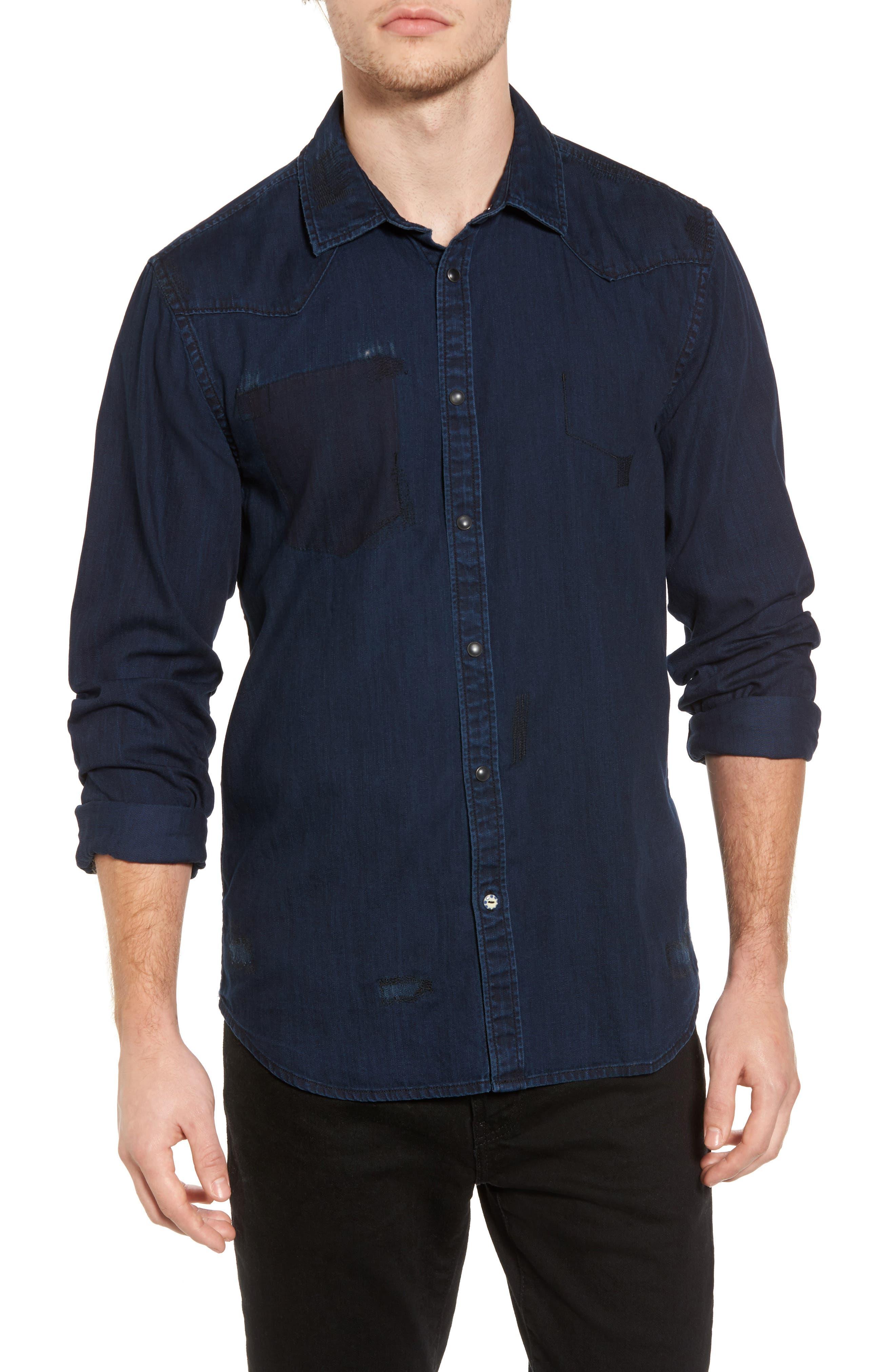 Pocketless Western Denim Shirt,                         Main,                         color, Midnight