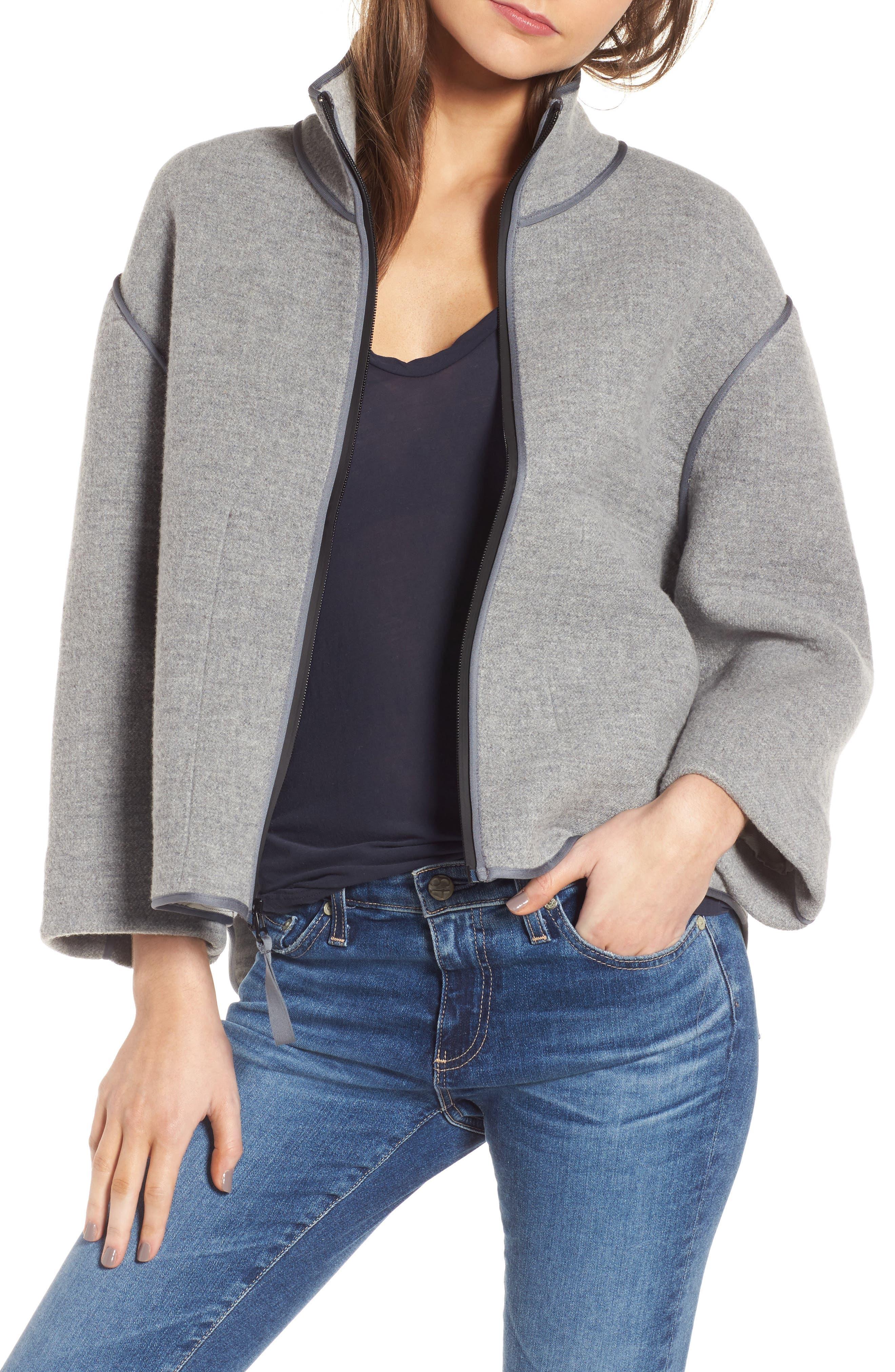 Easy Scuba Jacket,                         Main,                         color, Heather Grey