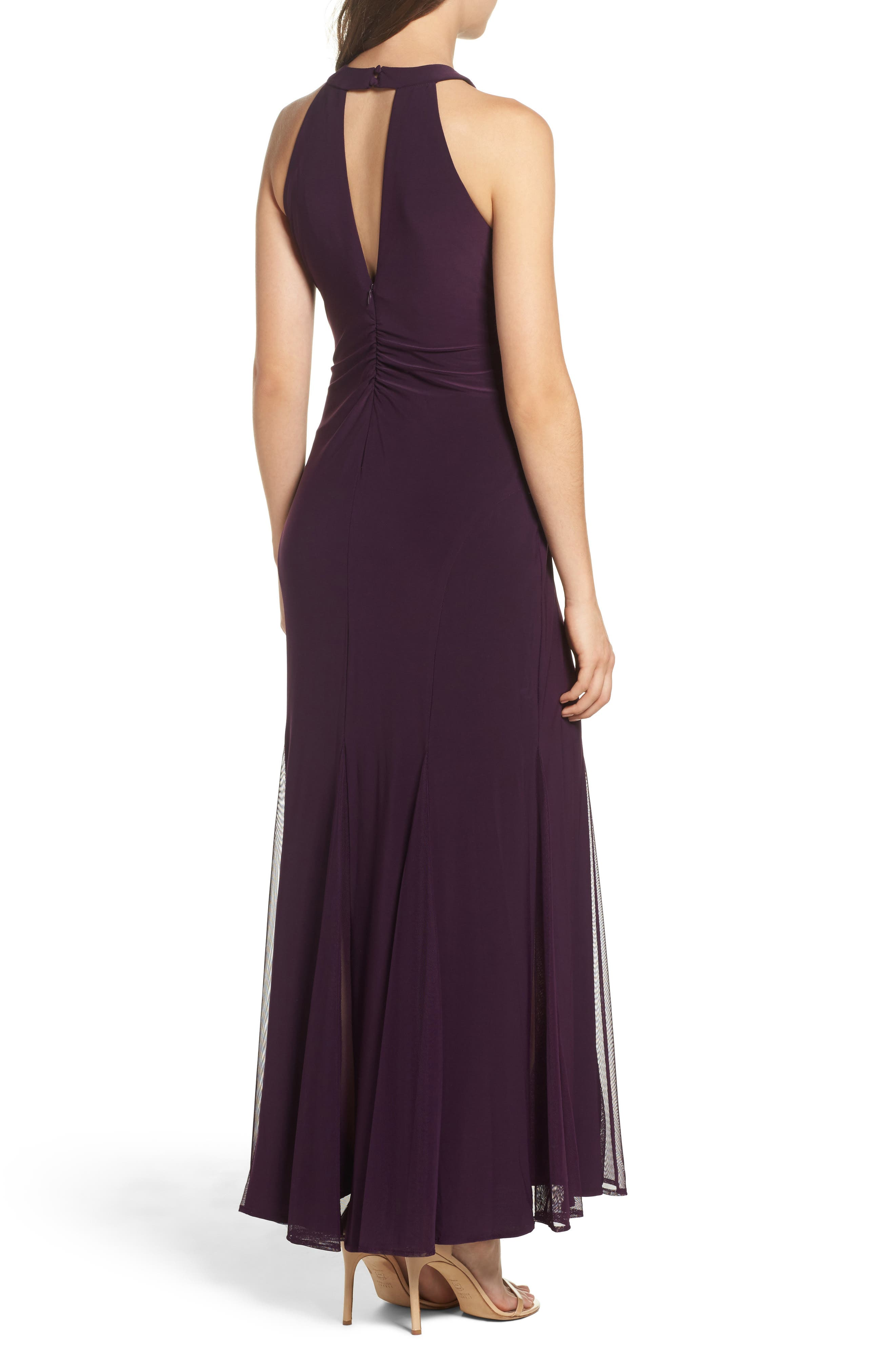 Mesh Insert Halter Neck Mermaid Dress,                             Alternate thumbnail 2, color,                             Plum