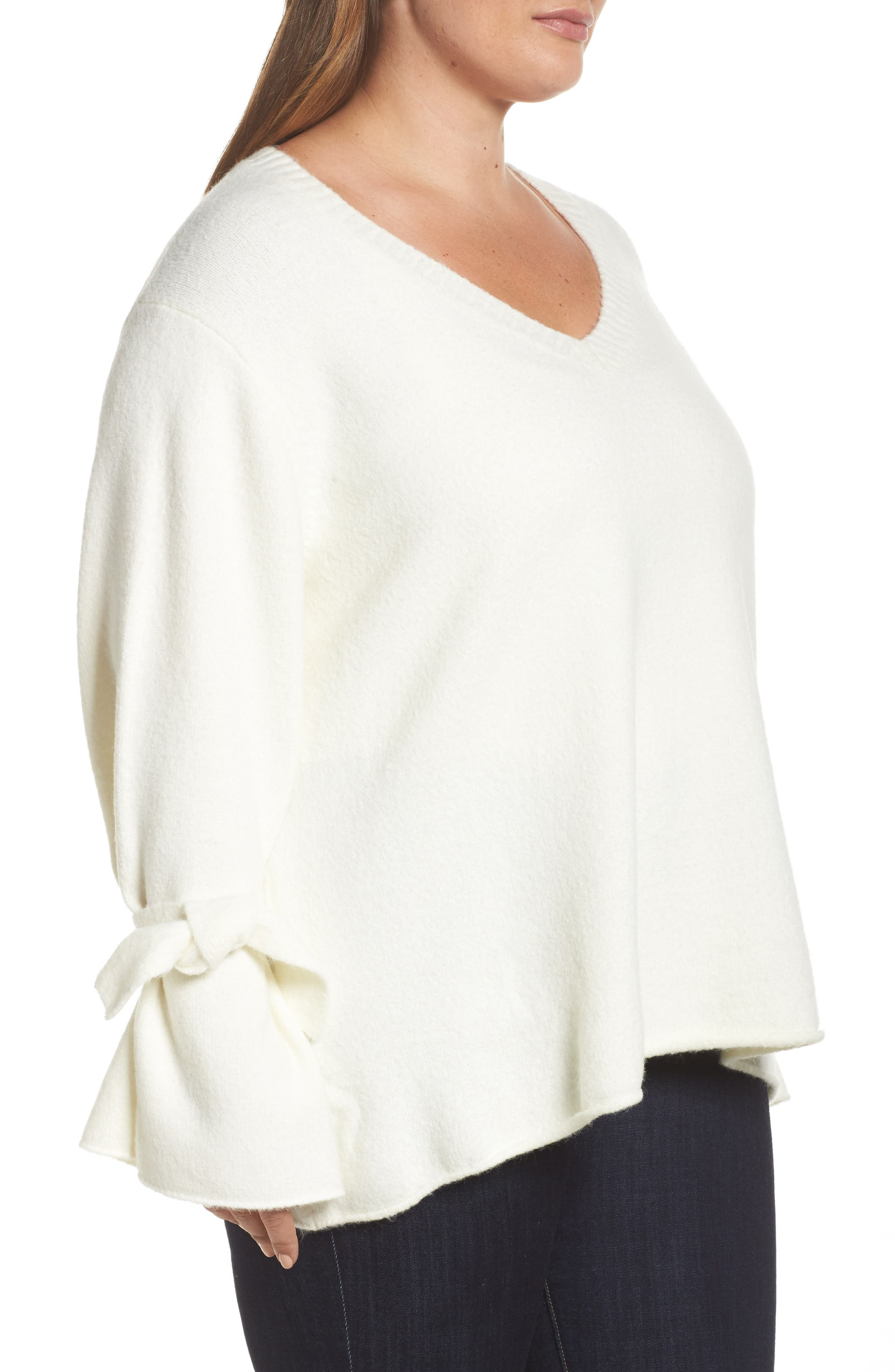 Tie Sleeve Sweater,                             Alternate thumbnail 3, color,                             White