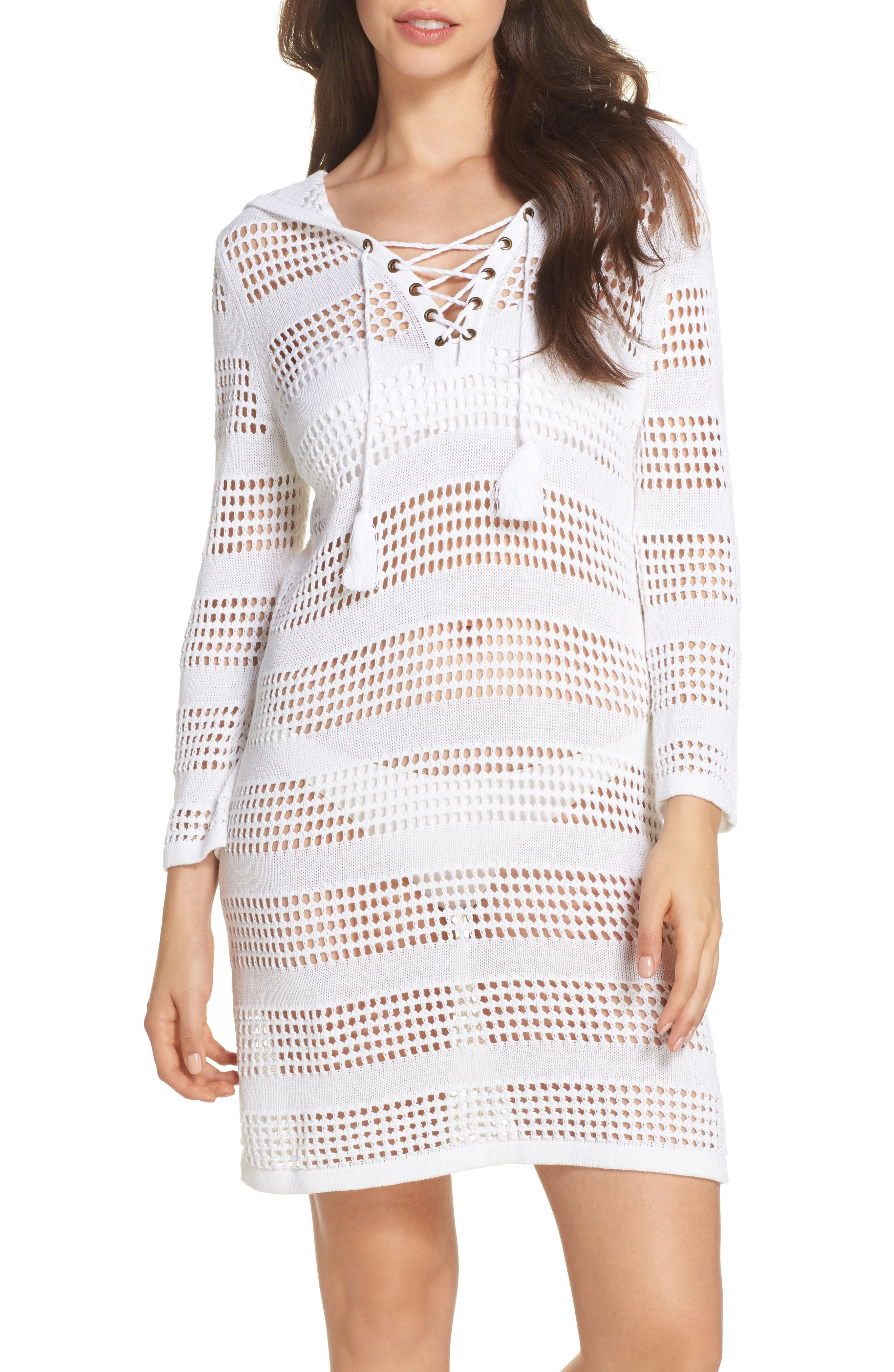 Tommy Bahama Open Stitch Hooded Cover-Up Sweater Dress